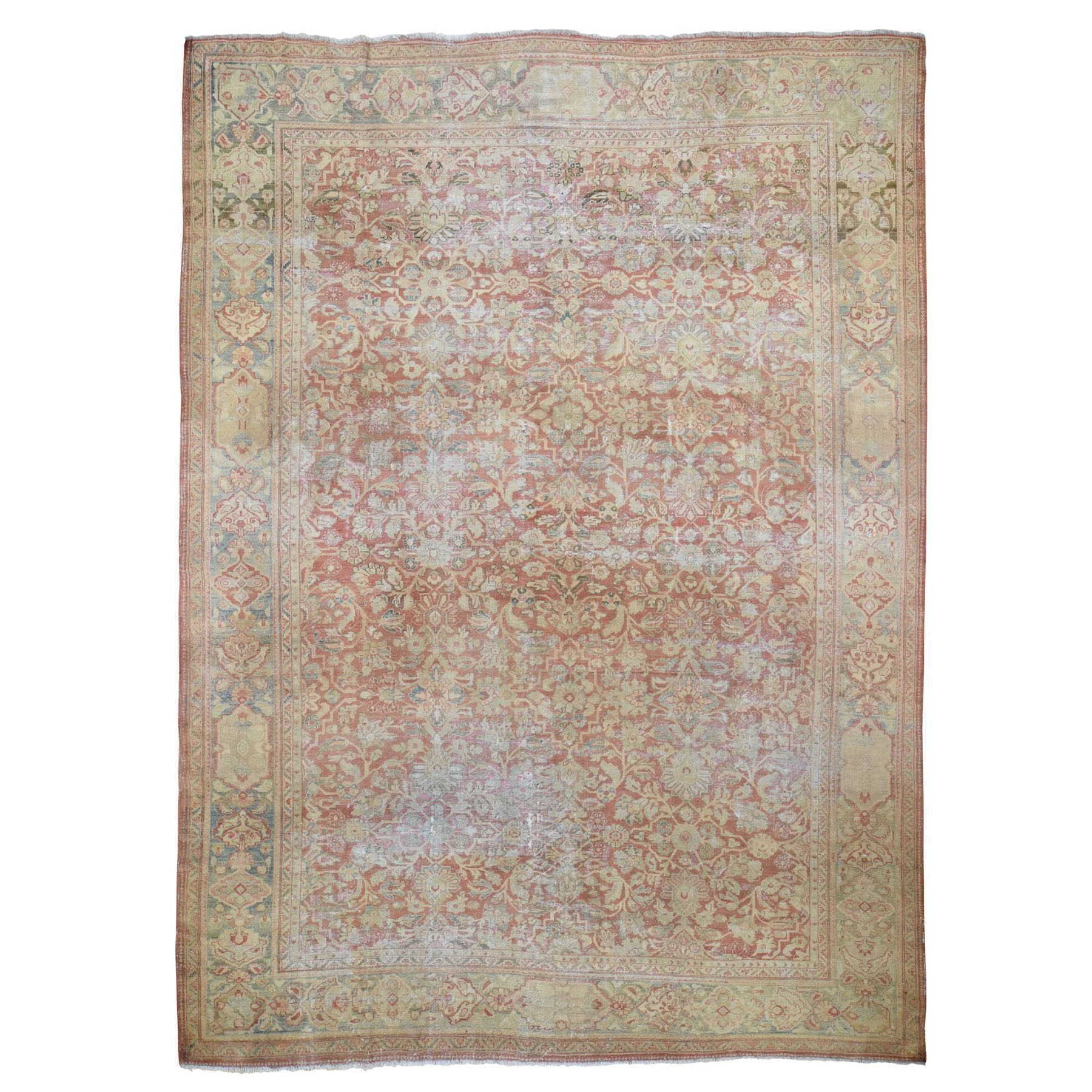 "10'3""x13'8"" Coral Antique And Worn Persian Mahal Hand Knotted Oriental Rug"
