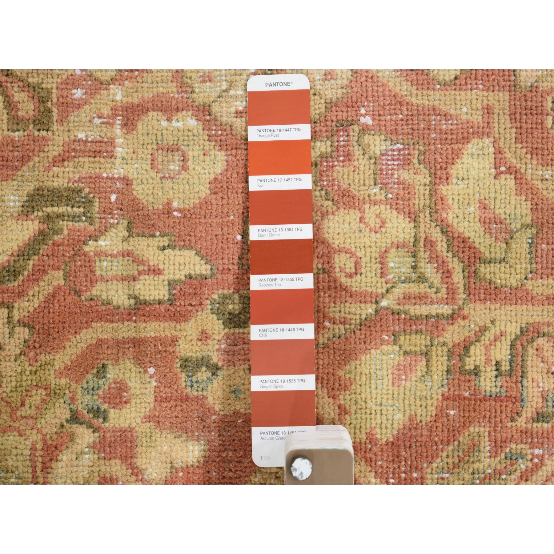 """10'3""""x13'8"""" Coral Antique And Worn Persian Mahal Hand Knotted Oriental Rug"""