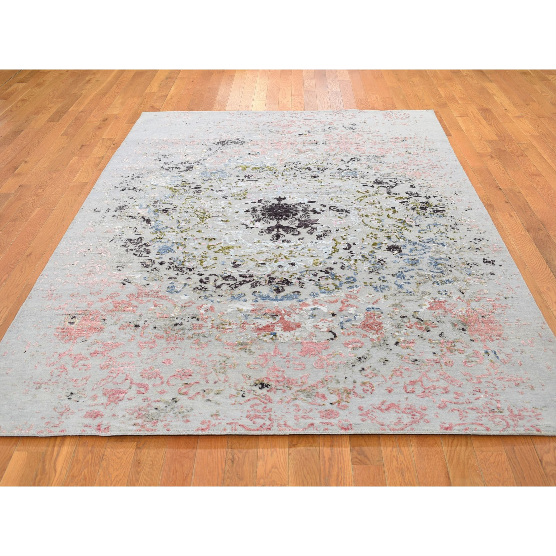 6-x8-10  Transitional Agra With Pop Of Color Wool And Silk Hand Knotted Oriental Rug