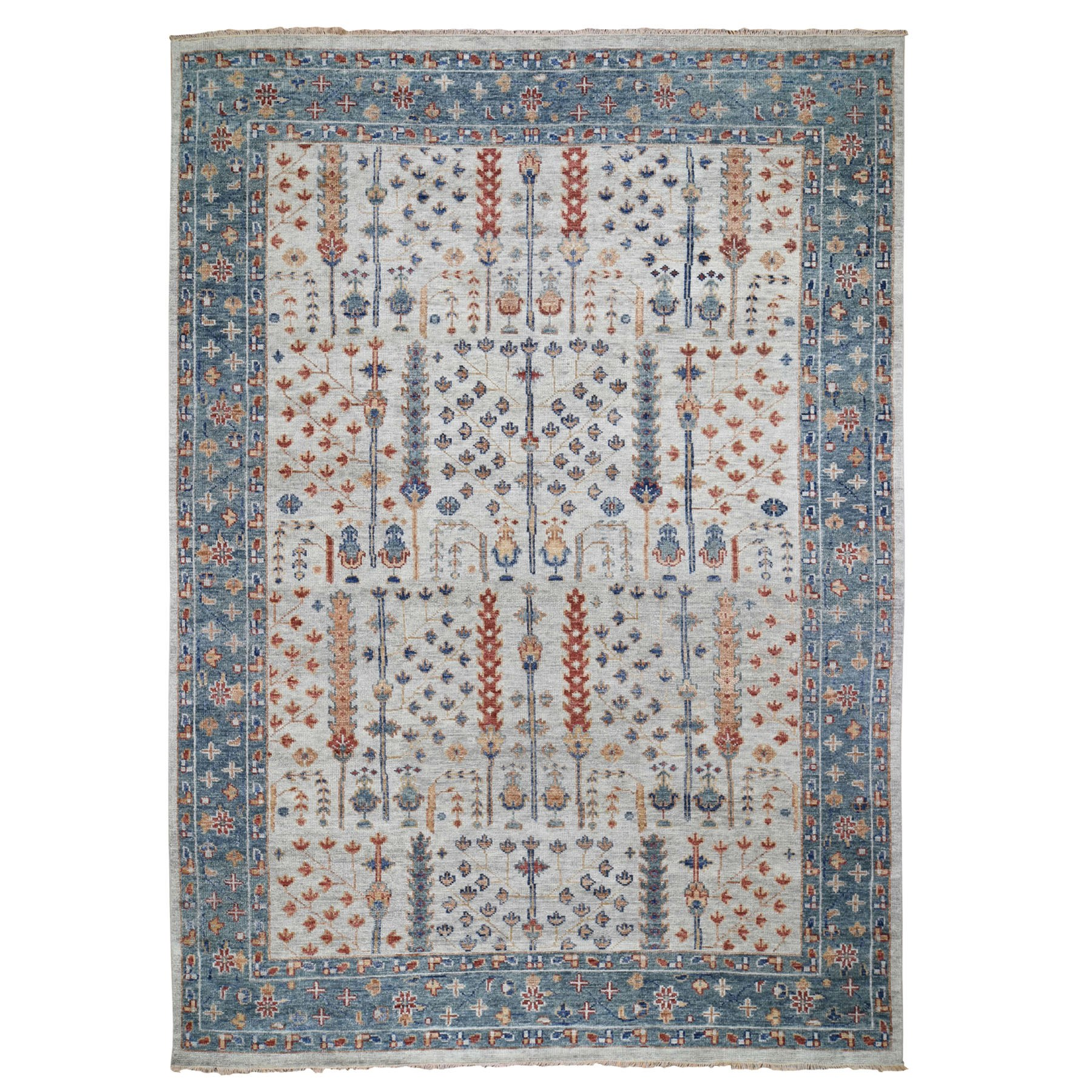 "10'X13'10"" Supple Collection With Tree Design Soft Wool Hand Knotted Oriental Rug moad8ba9"