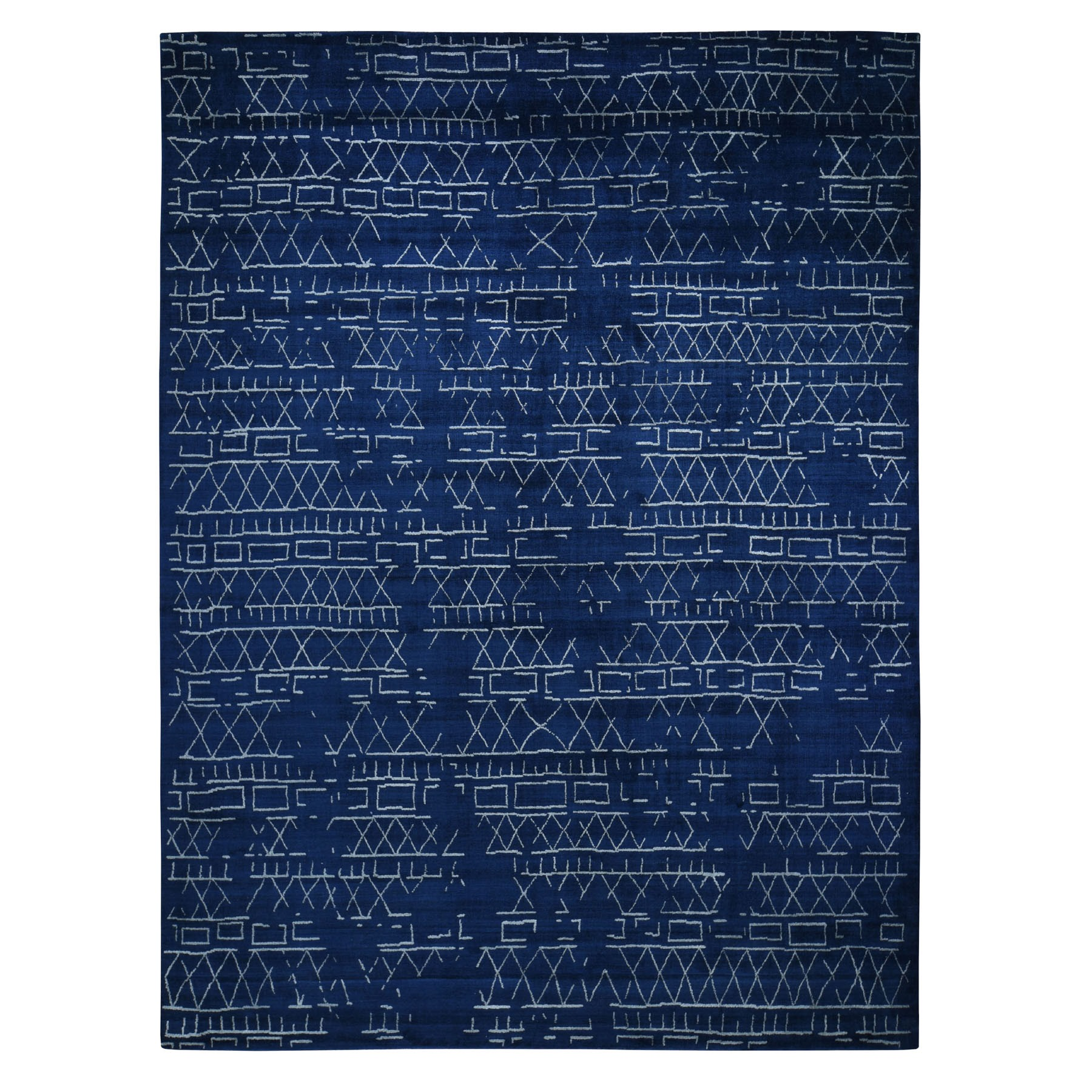 "9'1""x11'10"" Navy Blue Wool And Silk Modern Hand loomed Oriental Rug"