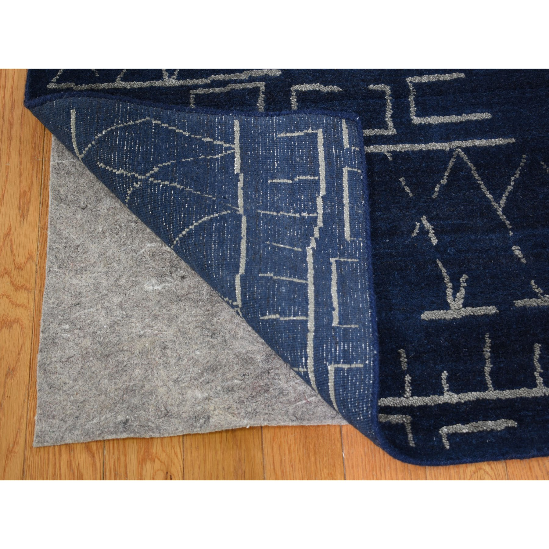 9-1 x11-10  Navy Blue Wool And Silk Modern Hand loomed Oriental Rug