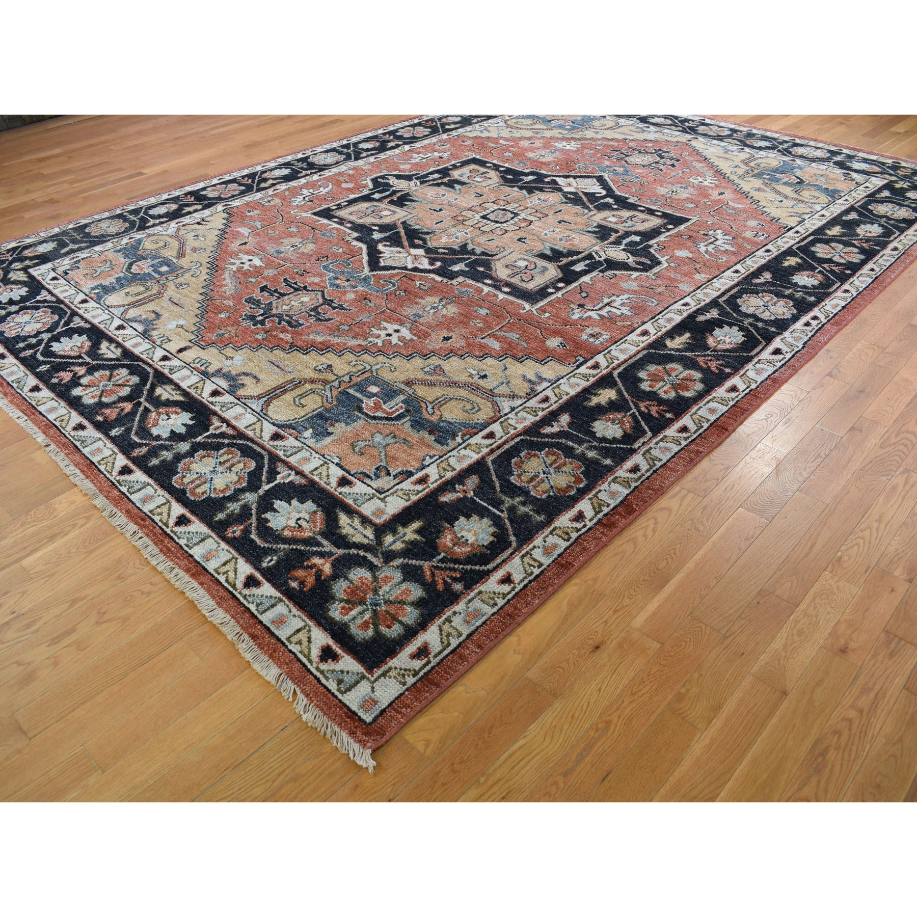 10'x14' Coral Supple Collection Heriz Design Soft wool Hand Knotted Oriental Rug