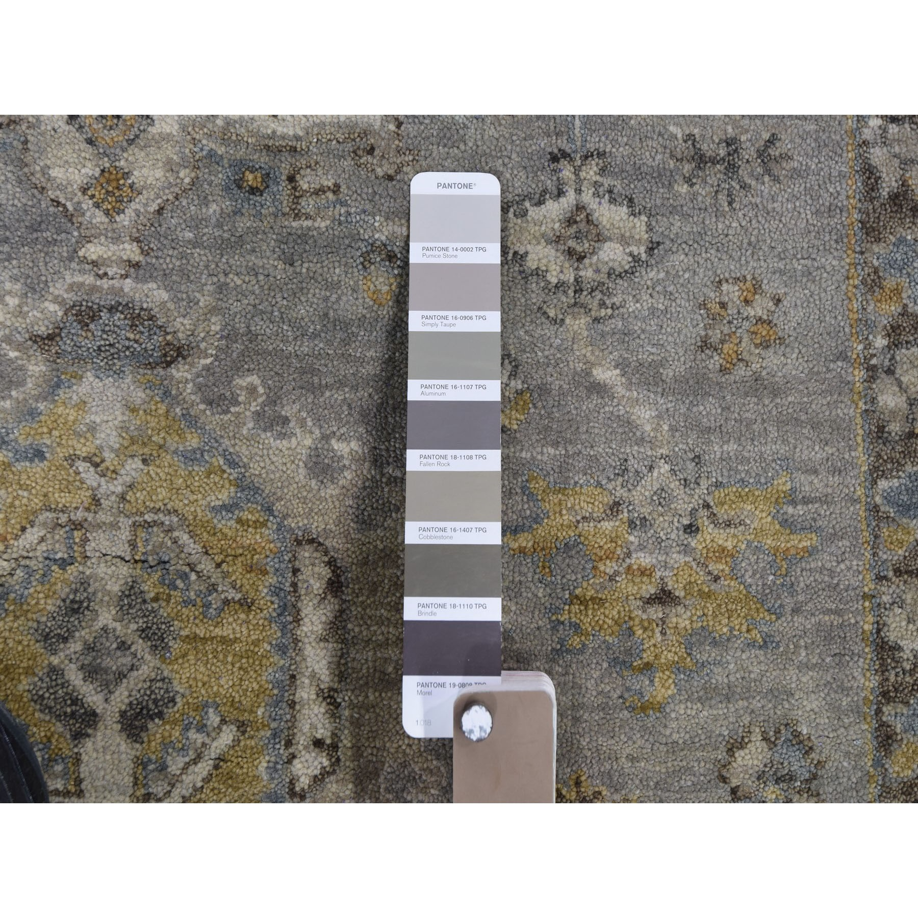 9'x12' Karajeh Design Pure Wool Gray Hand Knotted Oriental Rug