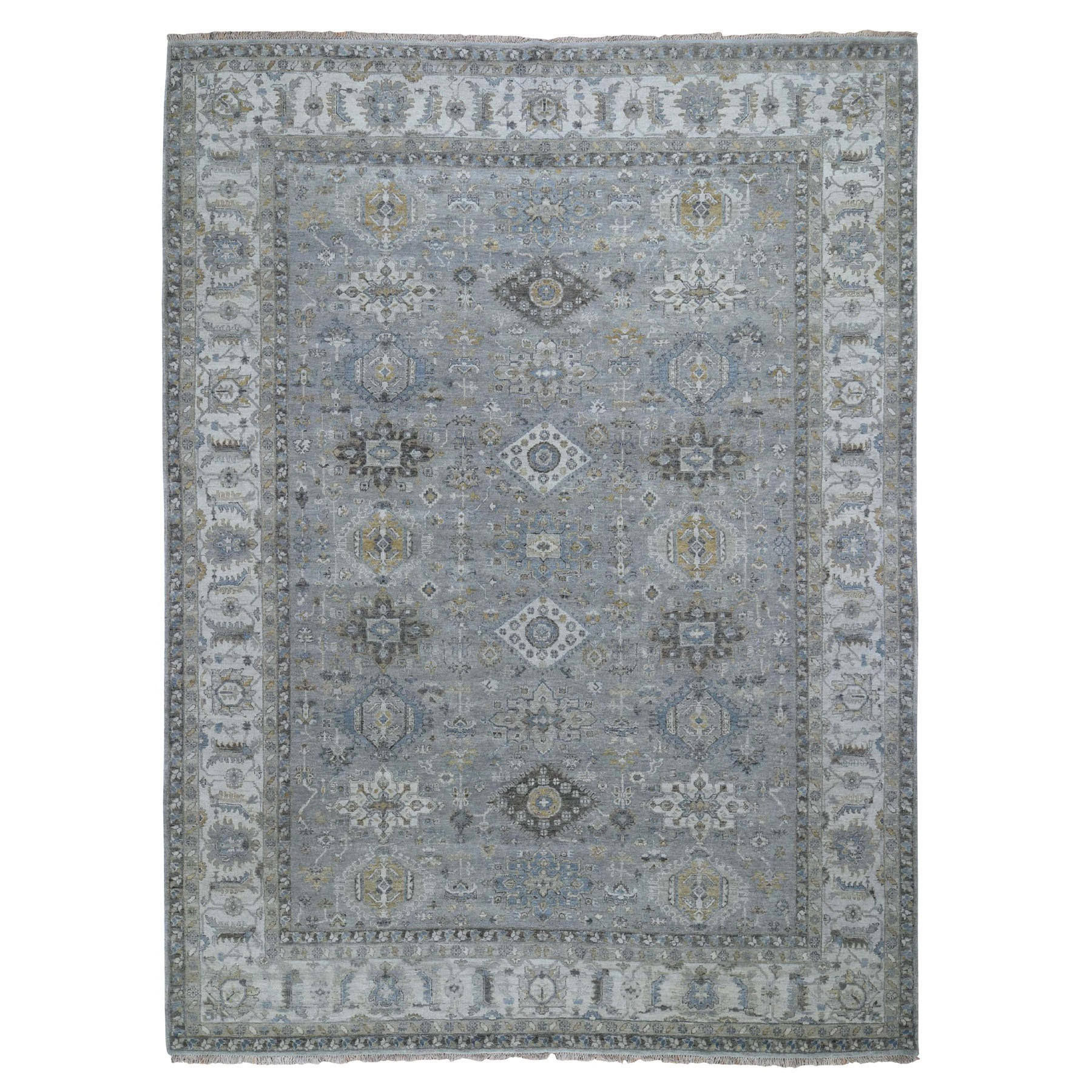"9'3""X12' Karajeh Design Pure Wool Gray Hand Knotted Oriental Rug moad8bb9"