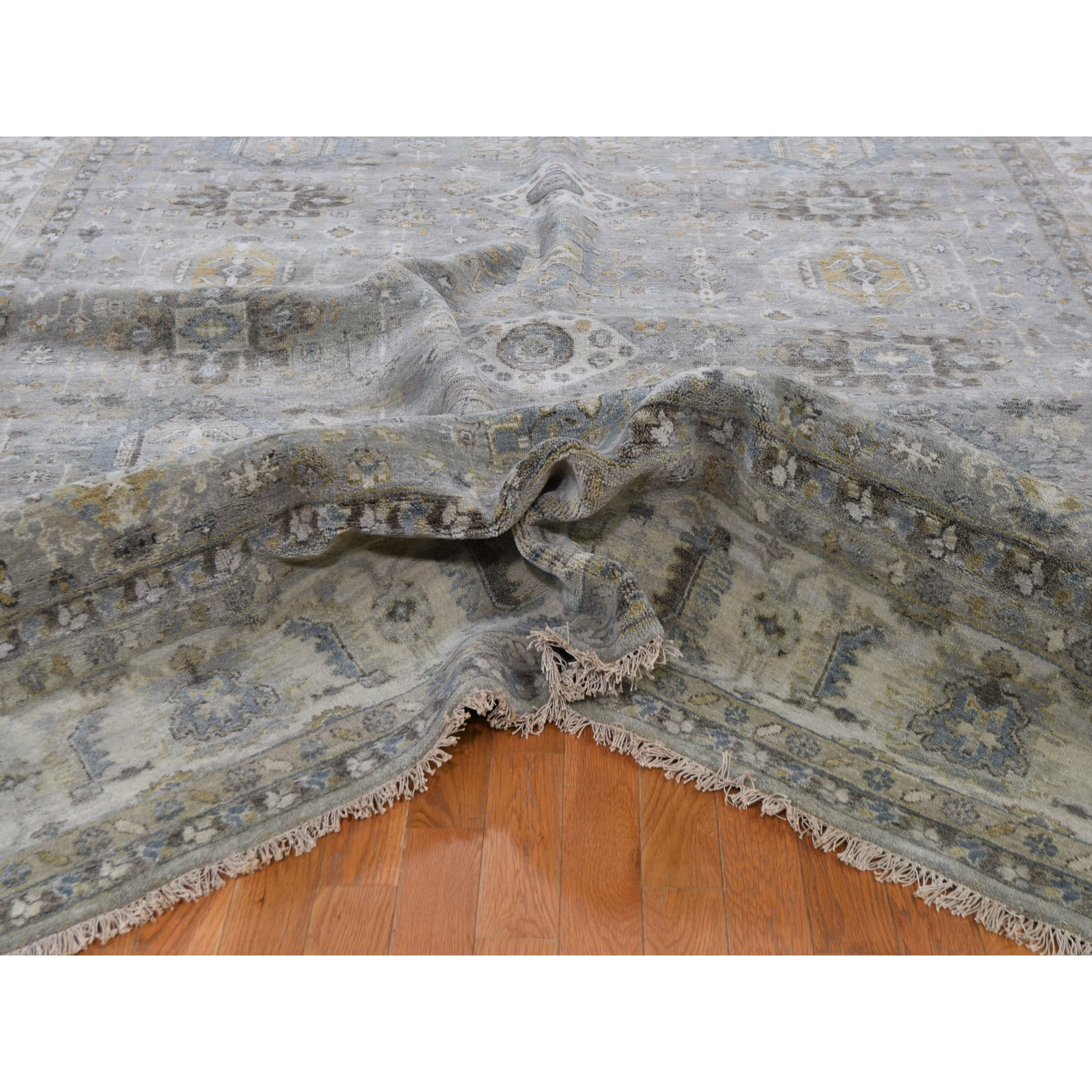 """9'3""""x12' Karajeh Design Pure Wool Gray Hand Knotted Oriental Rug"""