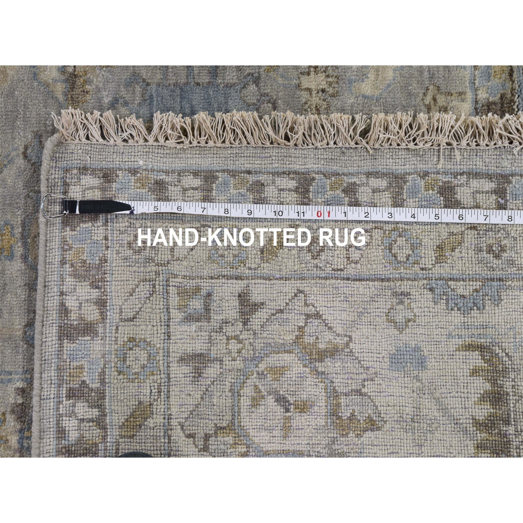 10'x10' Gray Square Karajeh Design Pure Wool Gray Hand Knotted Oriental Rug