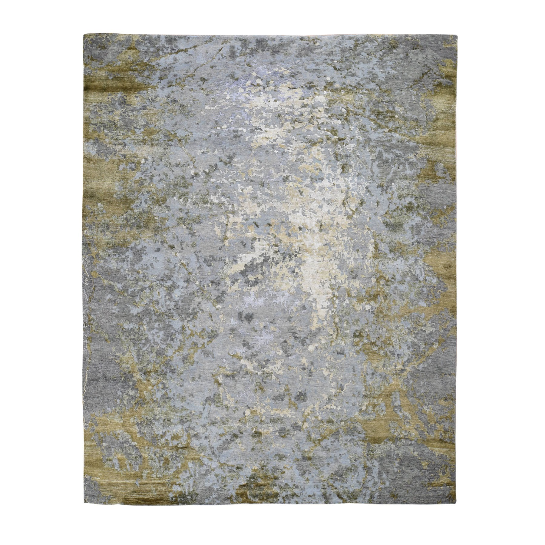 "8'3""X9'10"" Abstract Design Hi-Low Pile Wool And Silk Hand Knotted Oriental Rug moad8bca"
