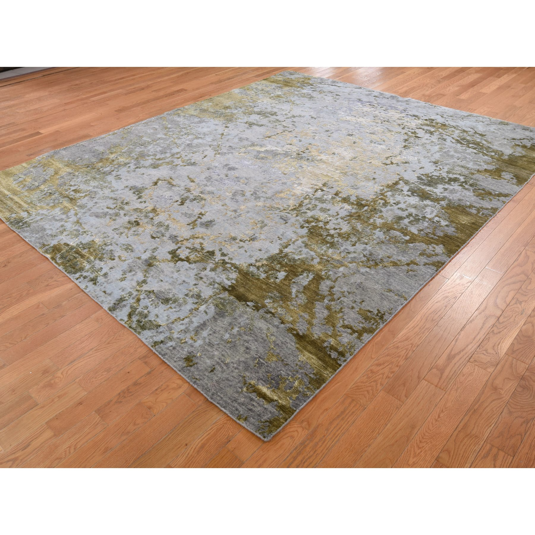 "8'3""x9'10"" Abstract Design Hi-Low Pile Wool And Silk Hand Knotted Oriental Rug"