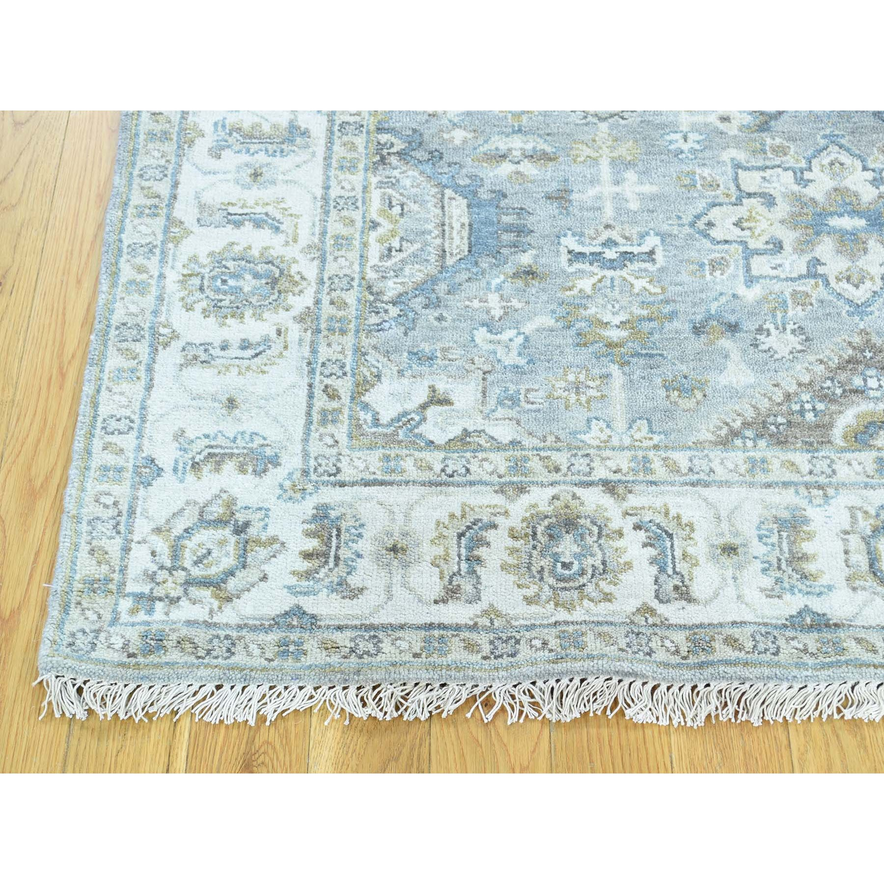 "4'1""x5'10"" Gray Pure Wool Karajeh Design Hand Knotted Oriental Rug"