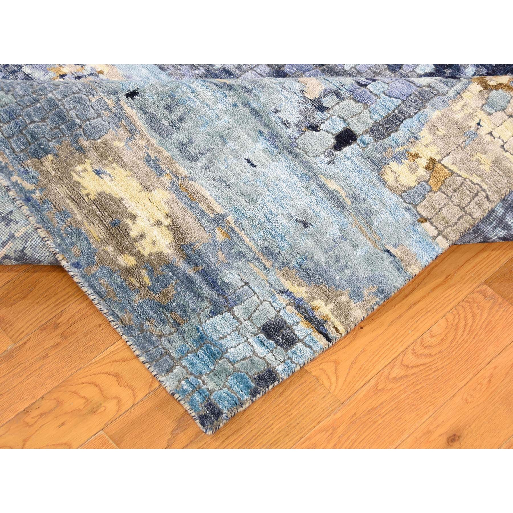 """8'x9'10"""" Mosaic Design Blue Wool and Silk Hand-Knotted Oriental Rug"""