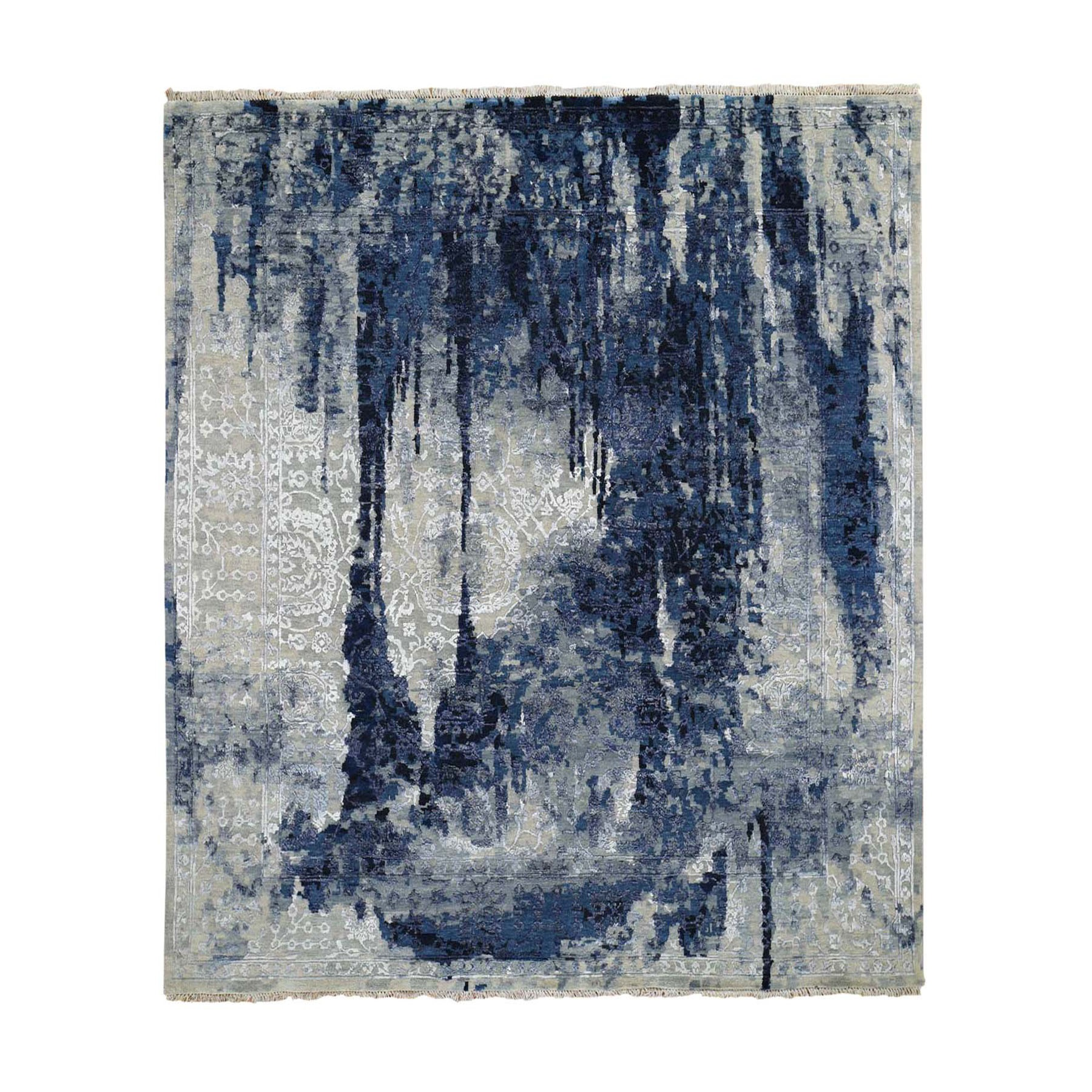 10'X10' Square Wool And Silk Shibori Design Tone On Tone Hand Knotted Oriental Rug moad8bcd