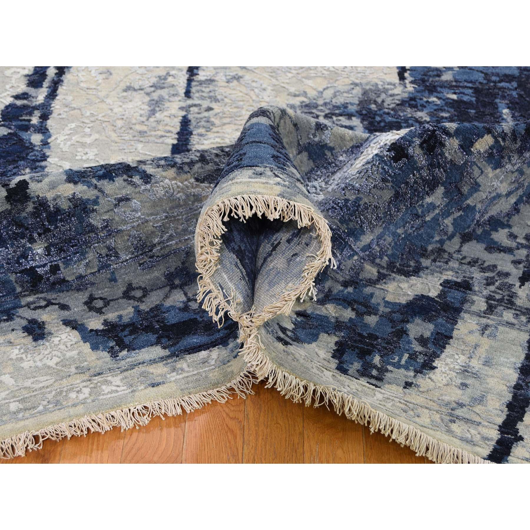10'x10' Square Wool And Silk Shibori Design Tone On Tone Hand Knotted Oriental Rug