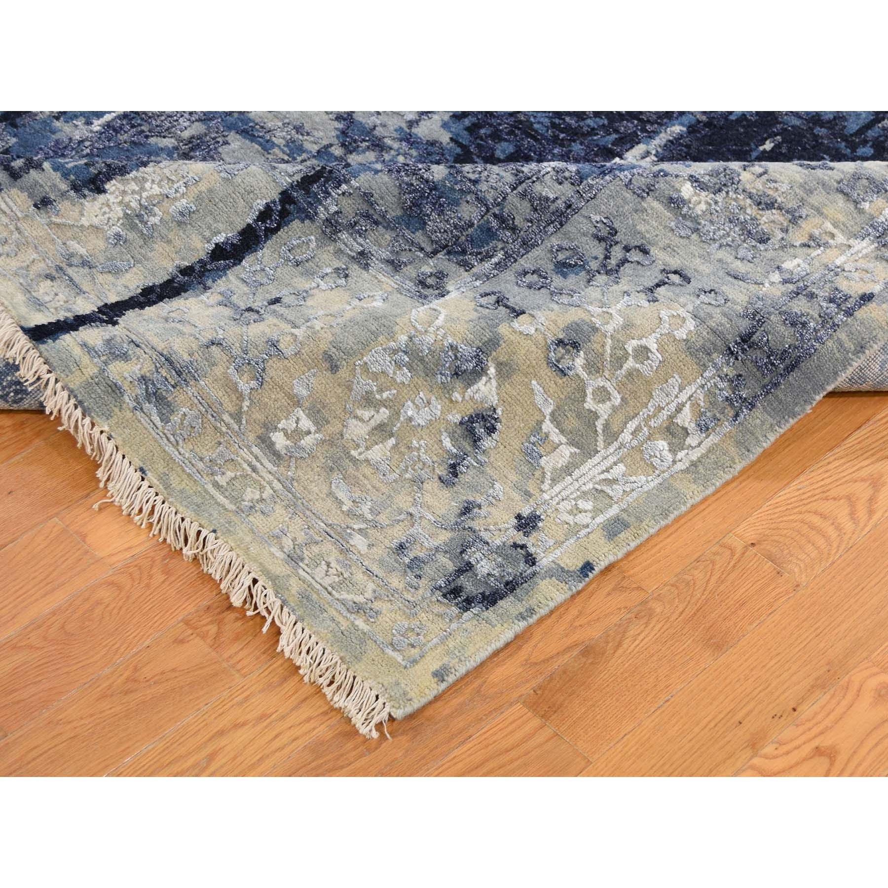 10-x10- Square Wool And Silk Shibori Design Tone On Tone Hand Knotted Oriental Rug