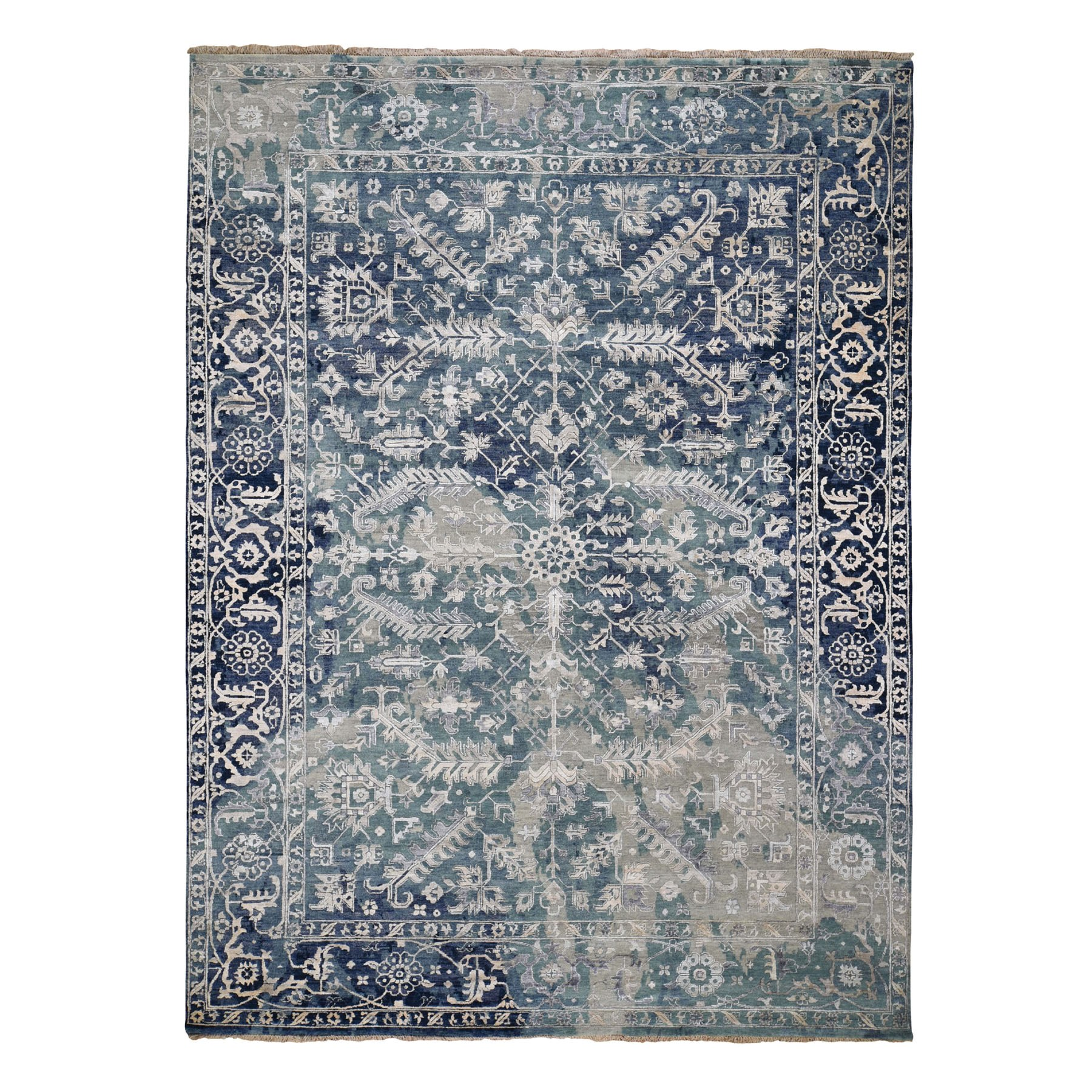 "8'10""x12' Broken Persian Heriz All Over Design Wool And Silk Hand Knotted Oriental Rug"