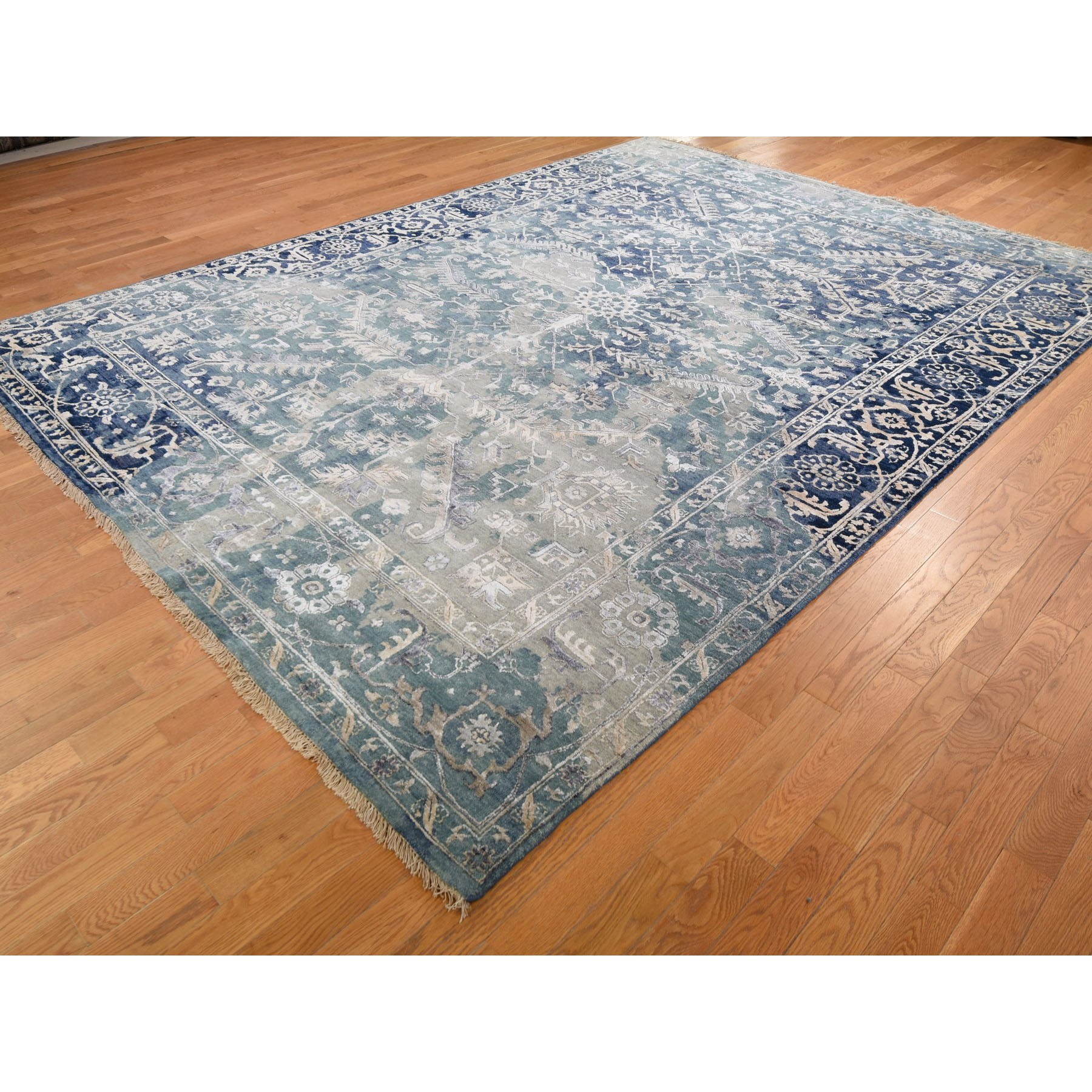 8-10 x12- Broken Persian Heriz All Over Design Wool And Silk Hand Knotted Oriental Rug