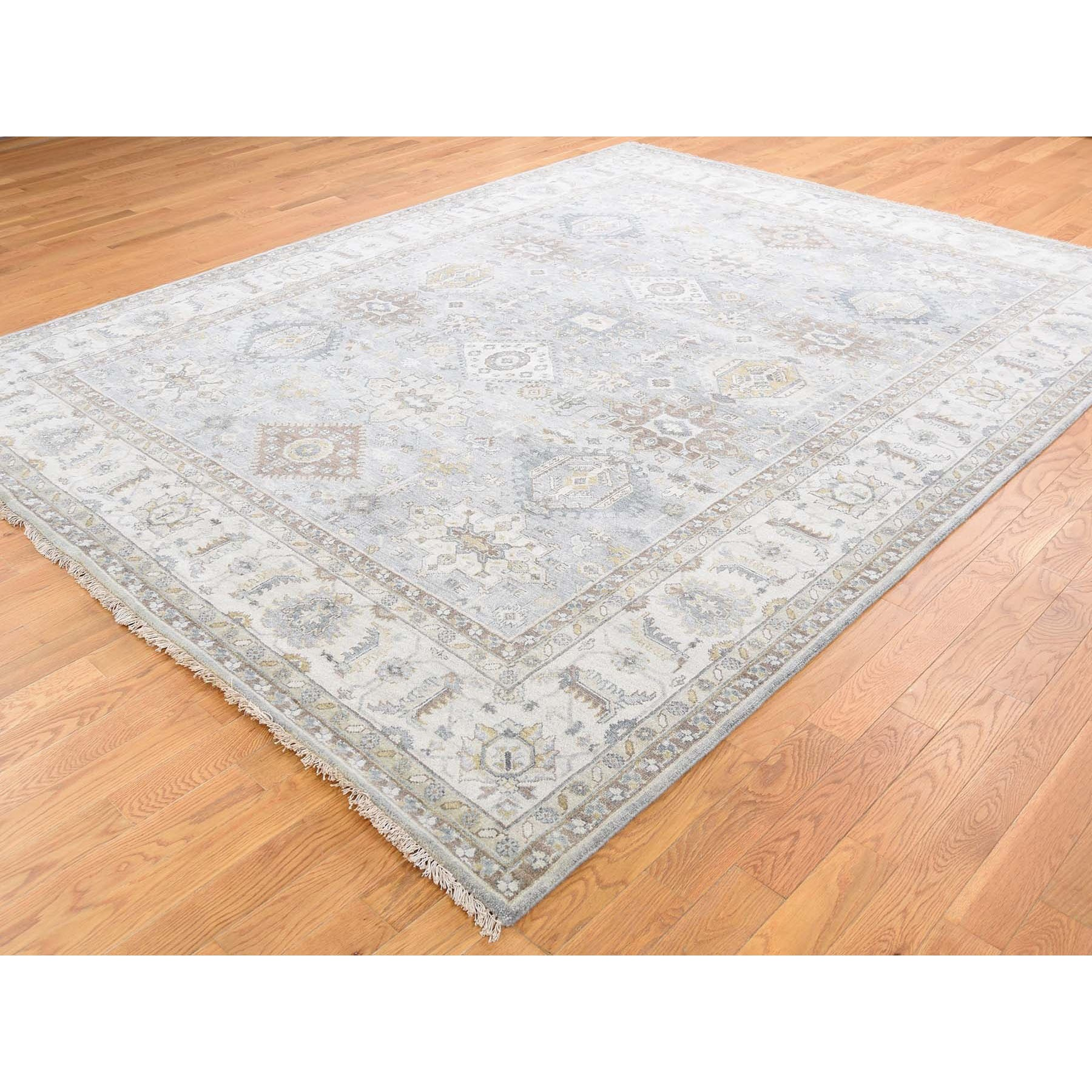 8'x10' Karajeh Design Pure Wool Gray Hand Knotted Oriental Rug