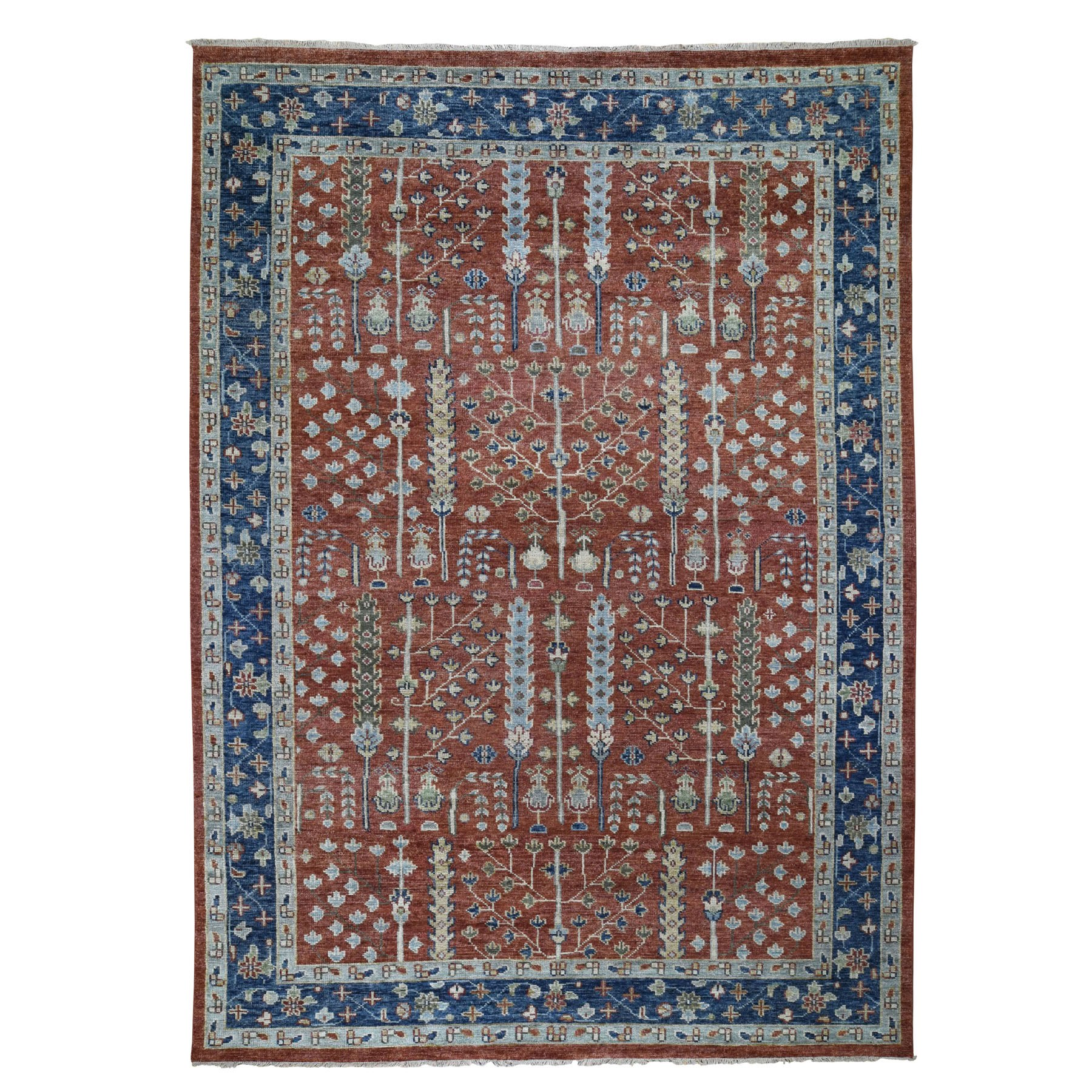 "10'3""X14'1"" Navy Blue Supple Collection With Tree Design Soft Wool Hand Knotted Oriental Rug moad8bdb"