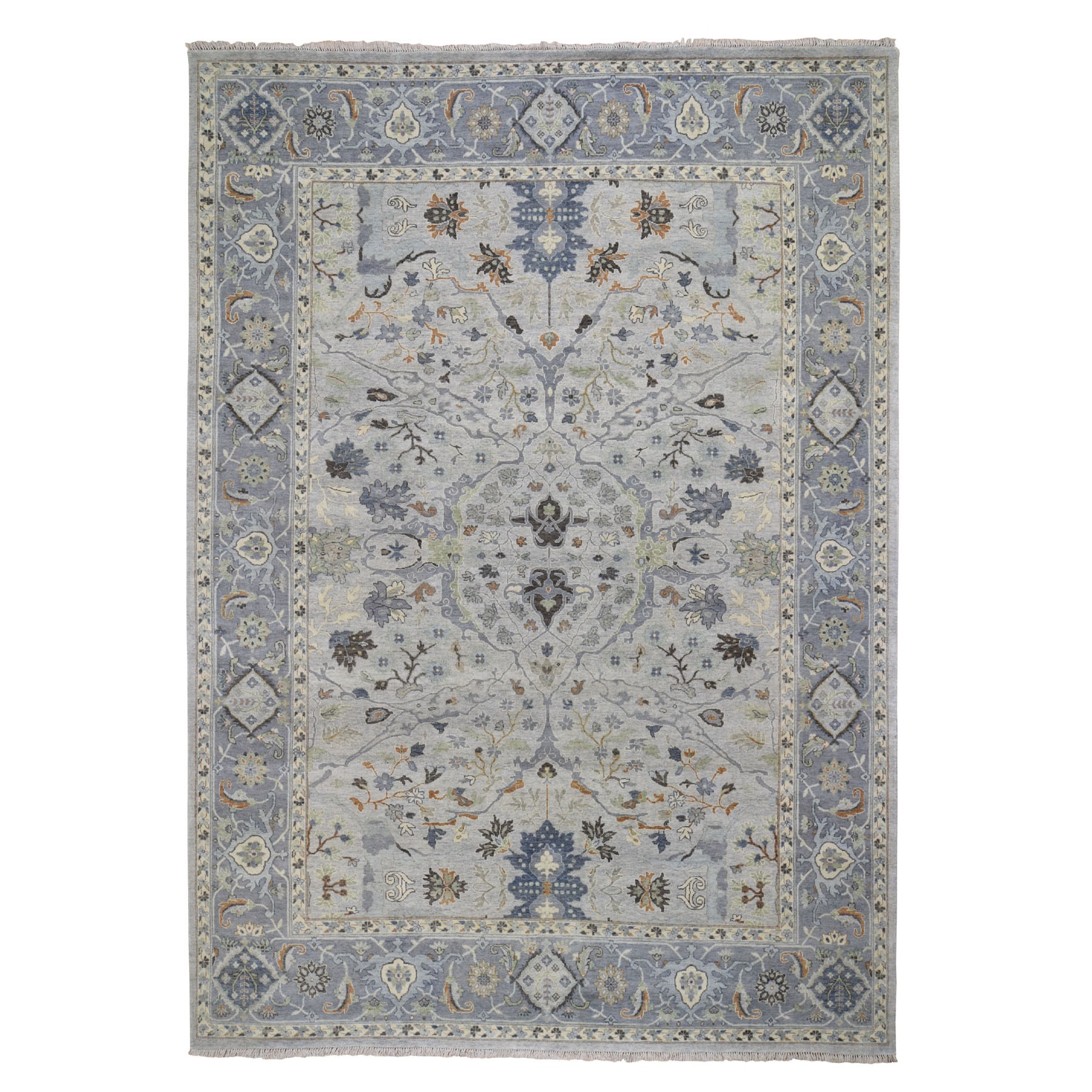 "8'9""X12' Gray Oushak Inspired 100% Hand Spun New Zealand Wool Vegetable Dyes Hand Knotted Oriental Rug moad8bdc"