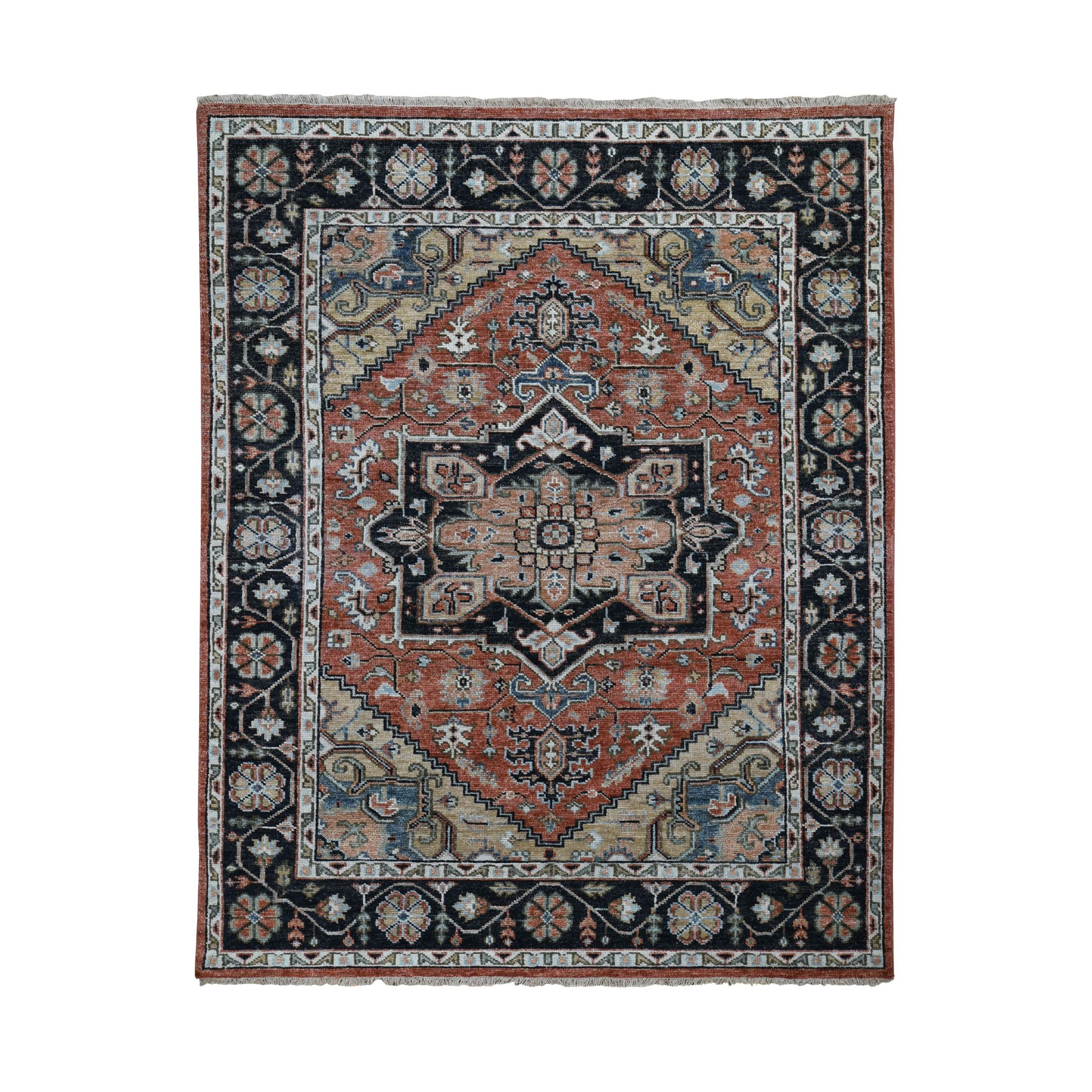 """8'2""""X9'10"""" Coral Supple Collection Heriz Design Soft Wool Hand Knotted Oriental Rug moad8bde"""