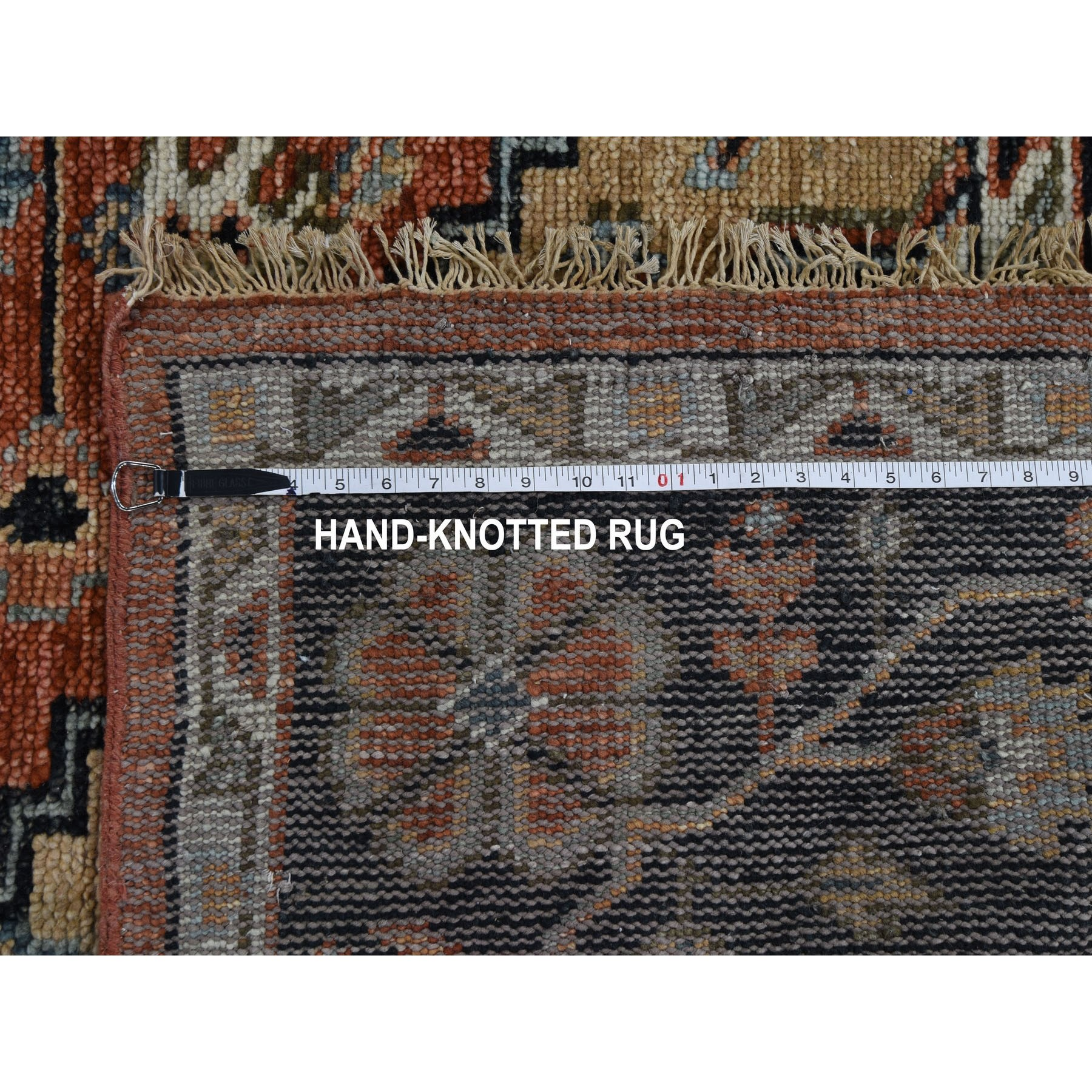 """8'2""""x9'10"""" Coral Supple Collection Heriz Design Soft Wool Hand Knotted Oriental Rug"""