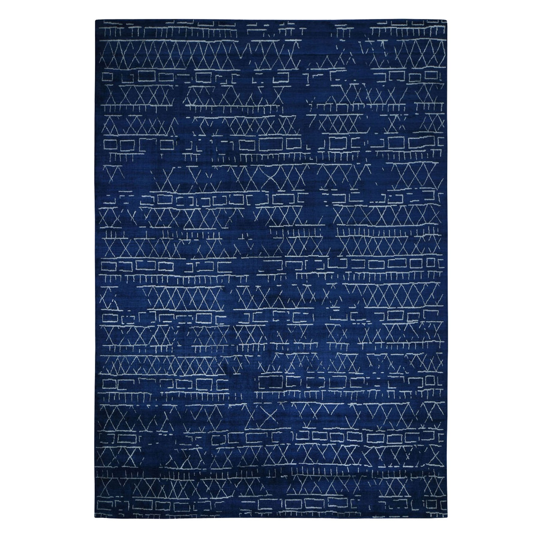 "9'X12'1"" Navy Blue Modern Hand Loomed Wool And Silk Oriental Rug moad8bd7"