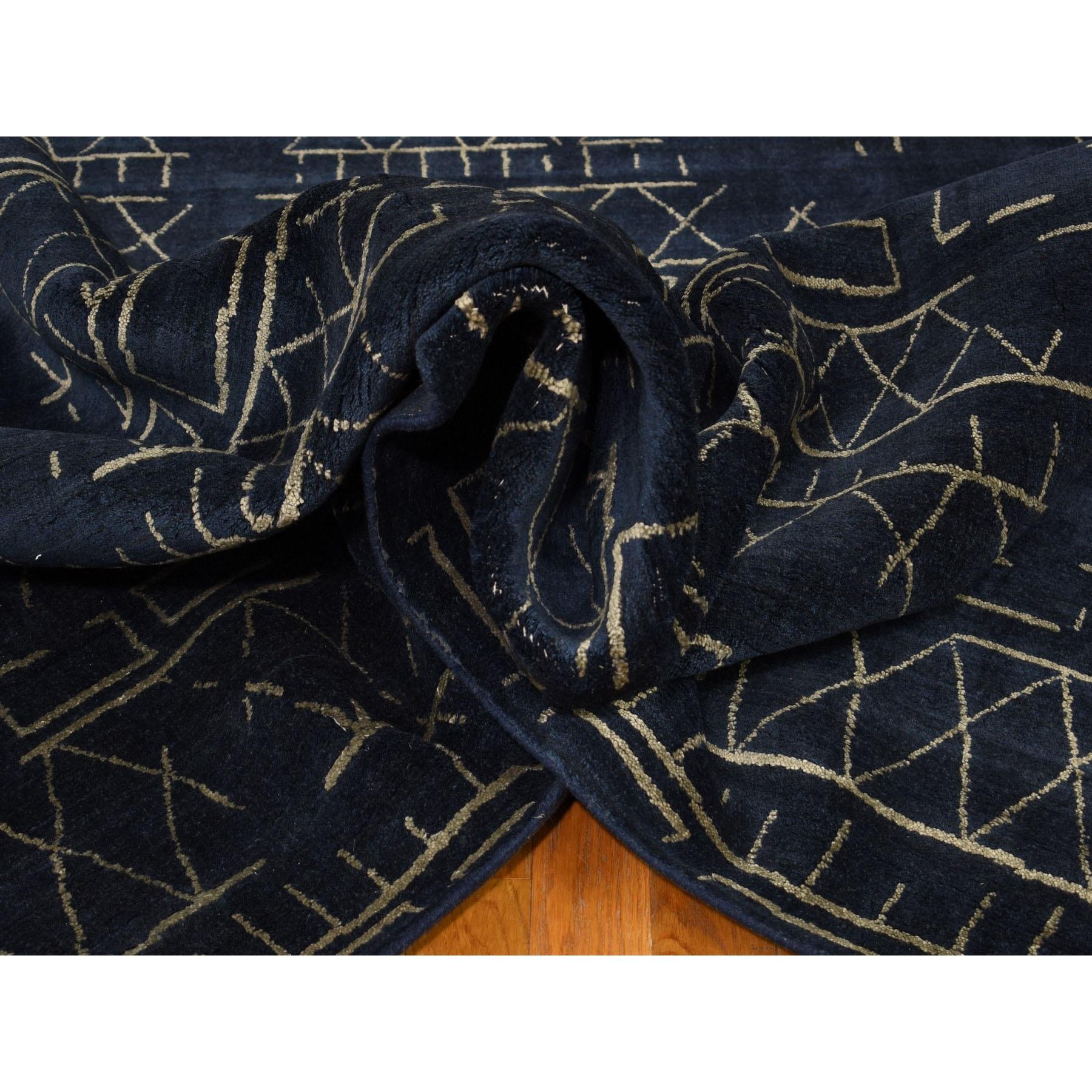 "9'x12'1"" Navy Blue Modern Hand Loomed Wool And Silk Oriental Rug"