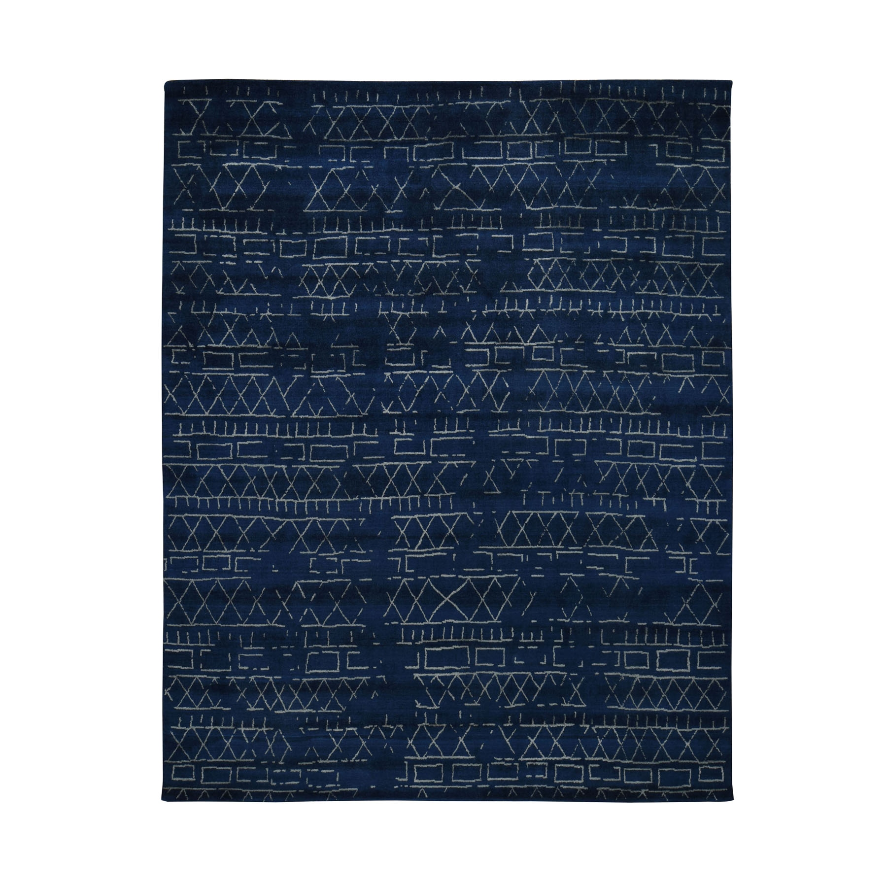 8'X10' Navy Blue Wool And Silk Modern Hand Loomed Oriental Rug   moad8bd9