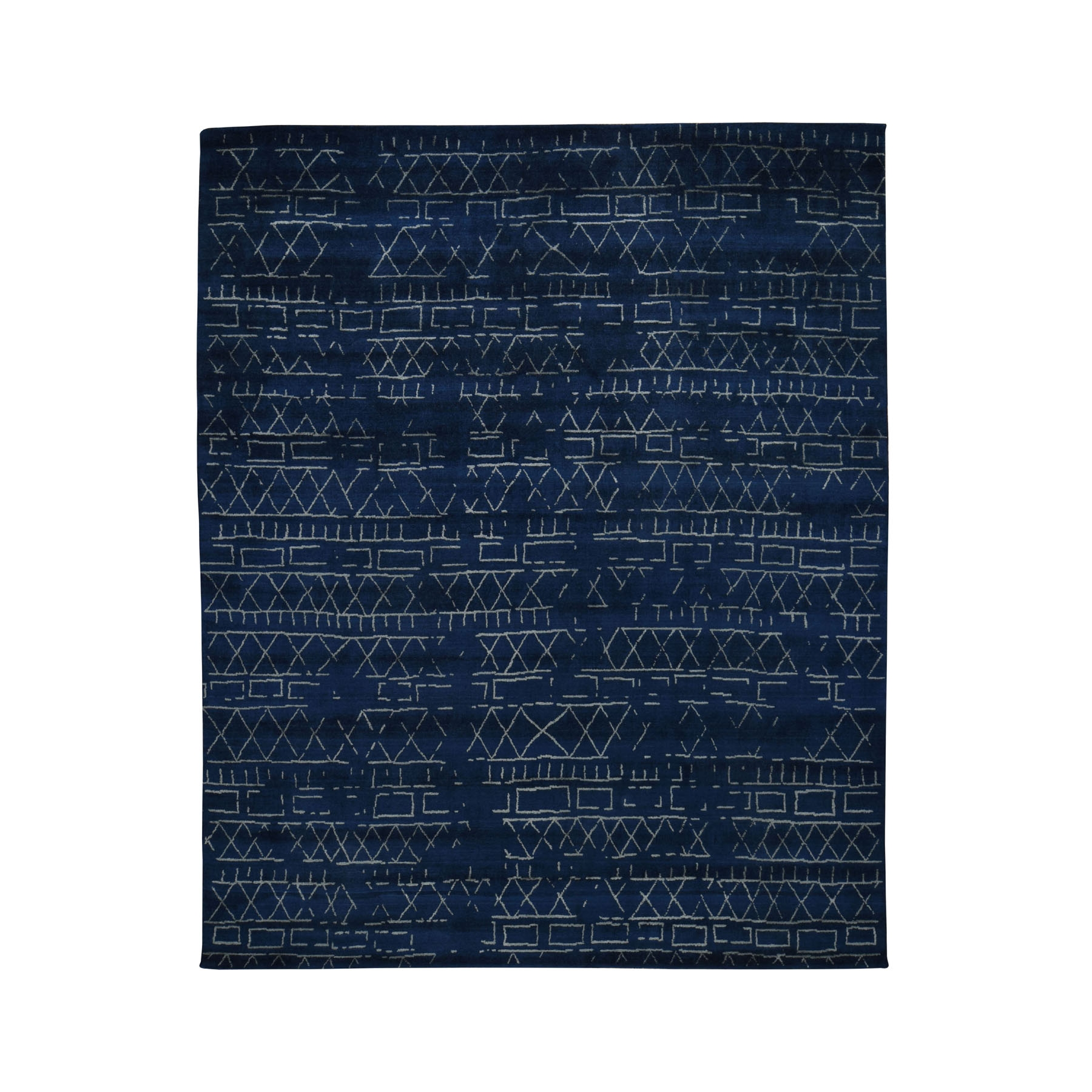 "8'X9'10"" Navy Blue Wool And Silk Modern Hand Loomed Oriental Rug moad8be0"