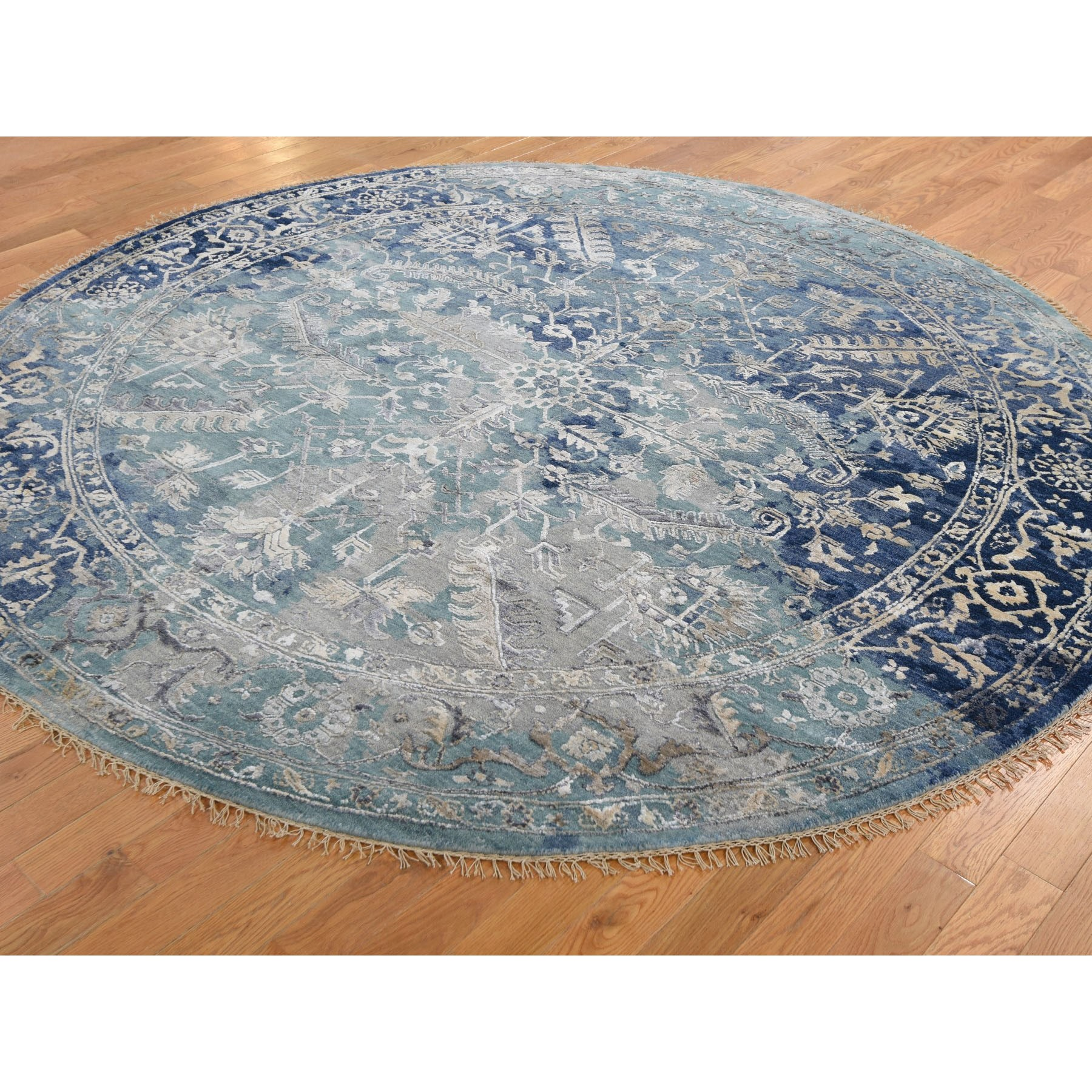 8'x8' Round Broken Persian Heriz All Over Design Wool And Silk Hand Knotted Oriental Rug
