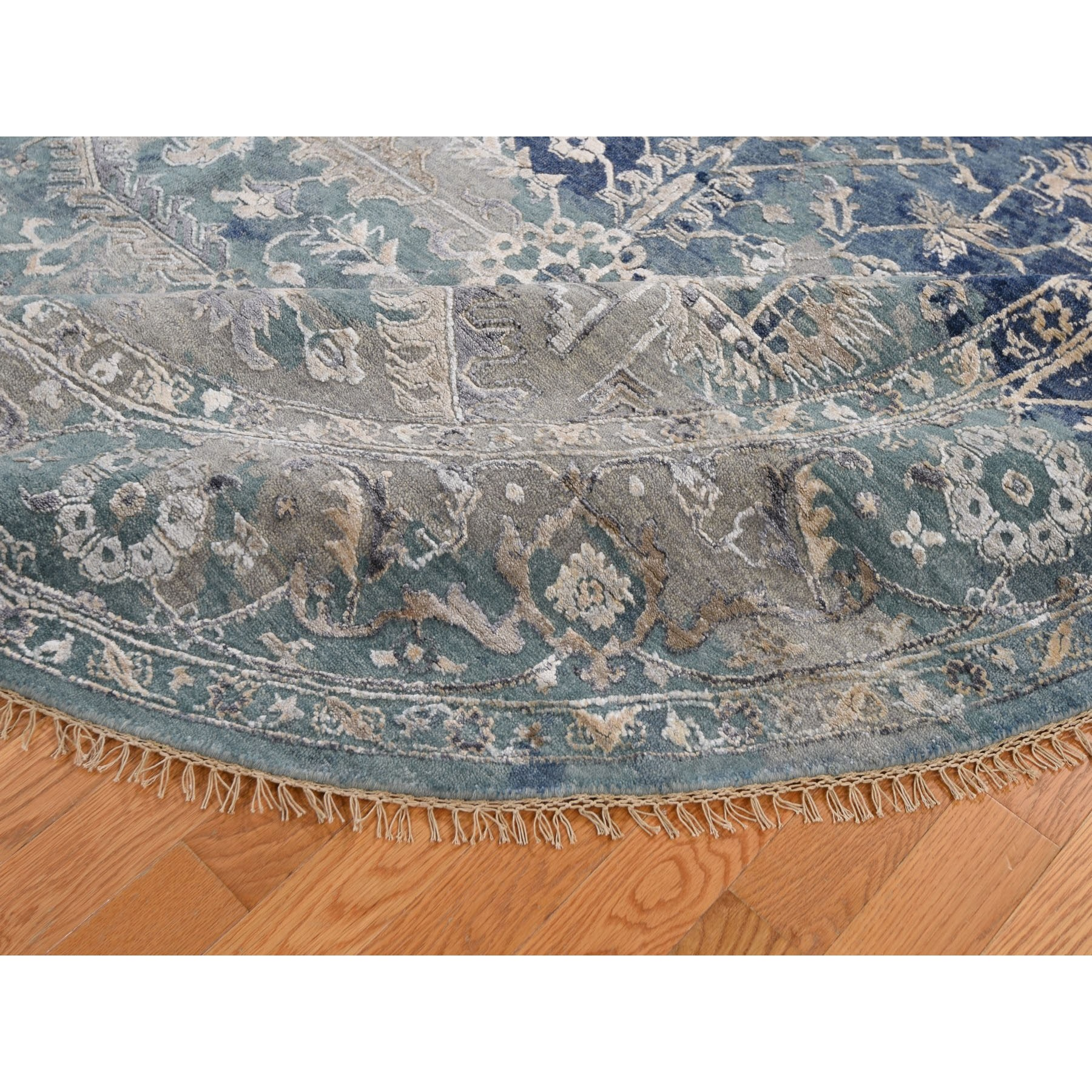 8-x8- Round Broken Persian Heriz All Over Design Wool And Silk Hand Knotted Oriental Rug