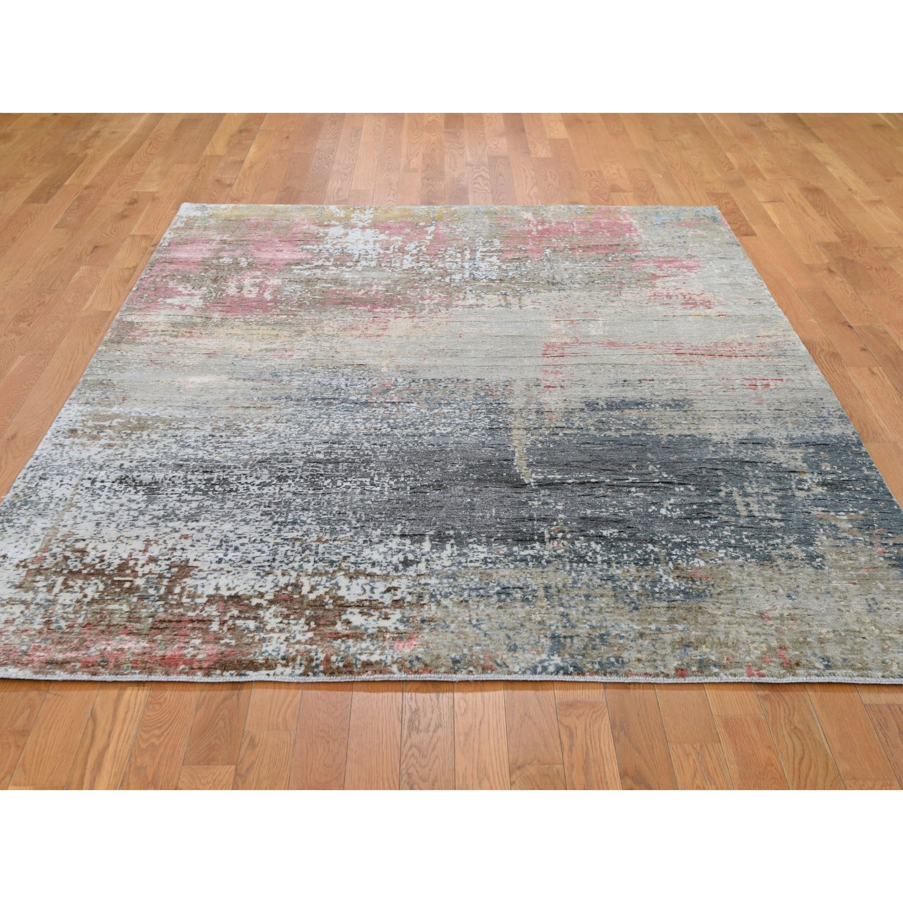 "6'x7'9"" Wool And Silk Abstract Design Hand Knotted Oriental Rug"