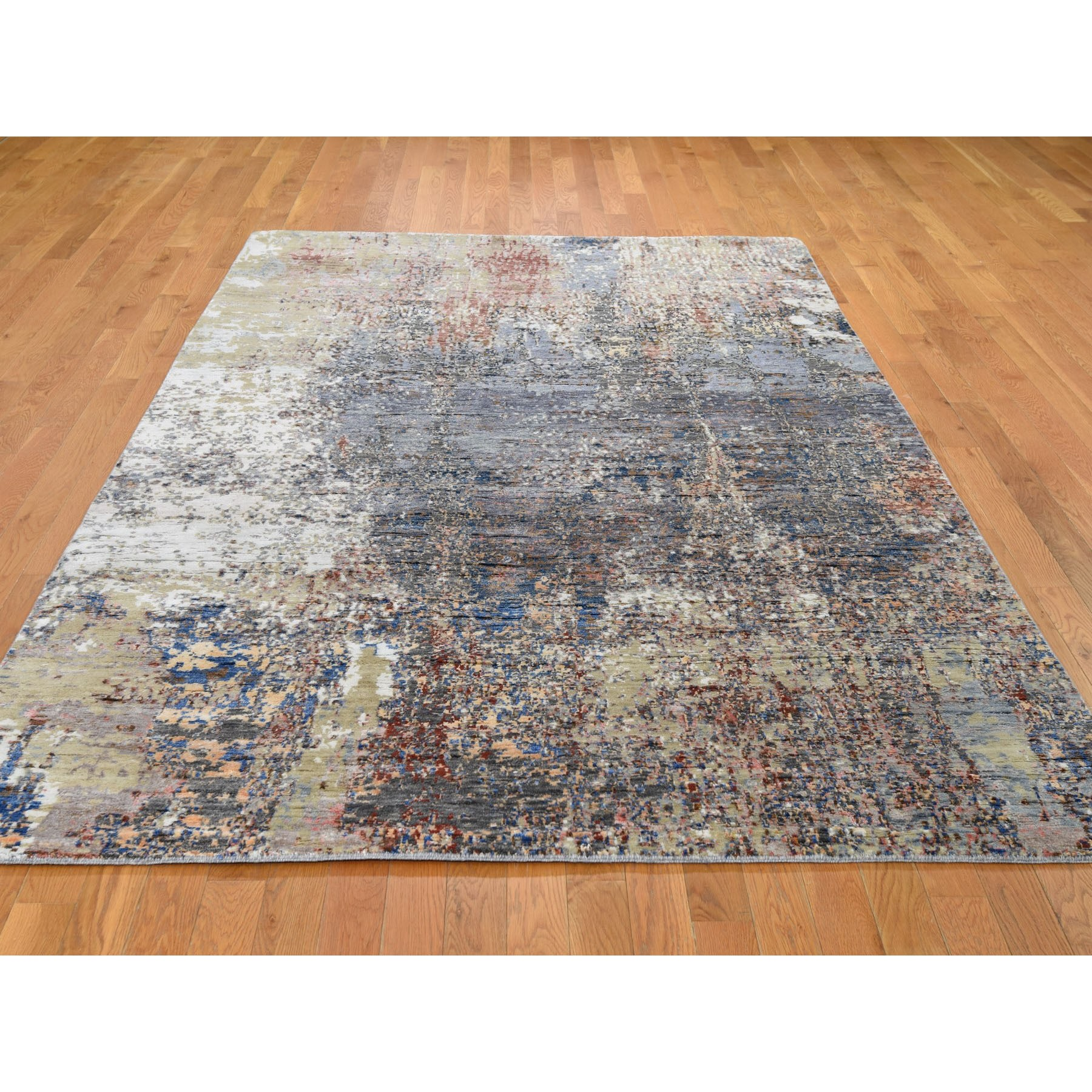 """6'x9'2"""" Wool And Silk Abstract Design Hand Knotted Oriental Rug"""