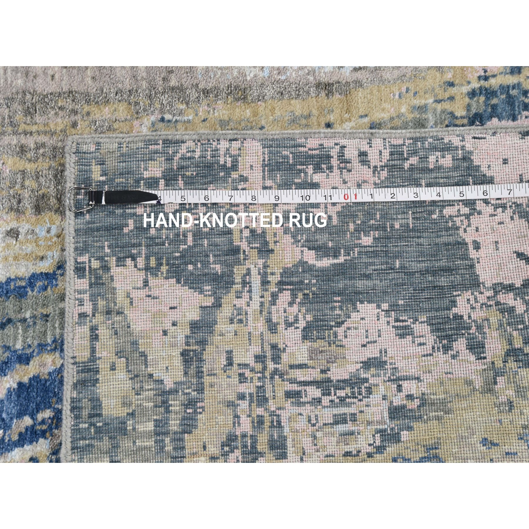 """5'10""""x9'1"""" Wool And Silk Abstract Design Hand Knotted Oriental Rug"""