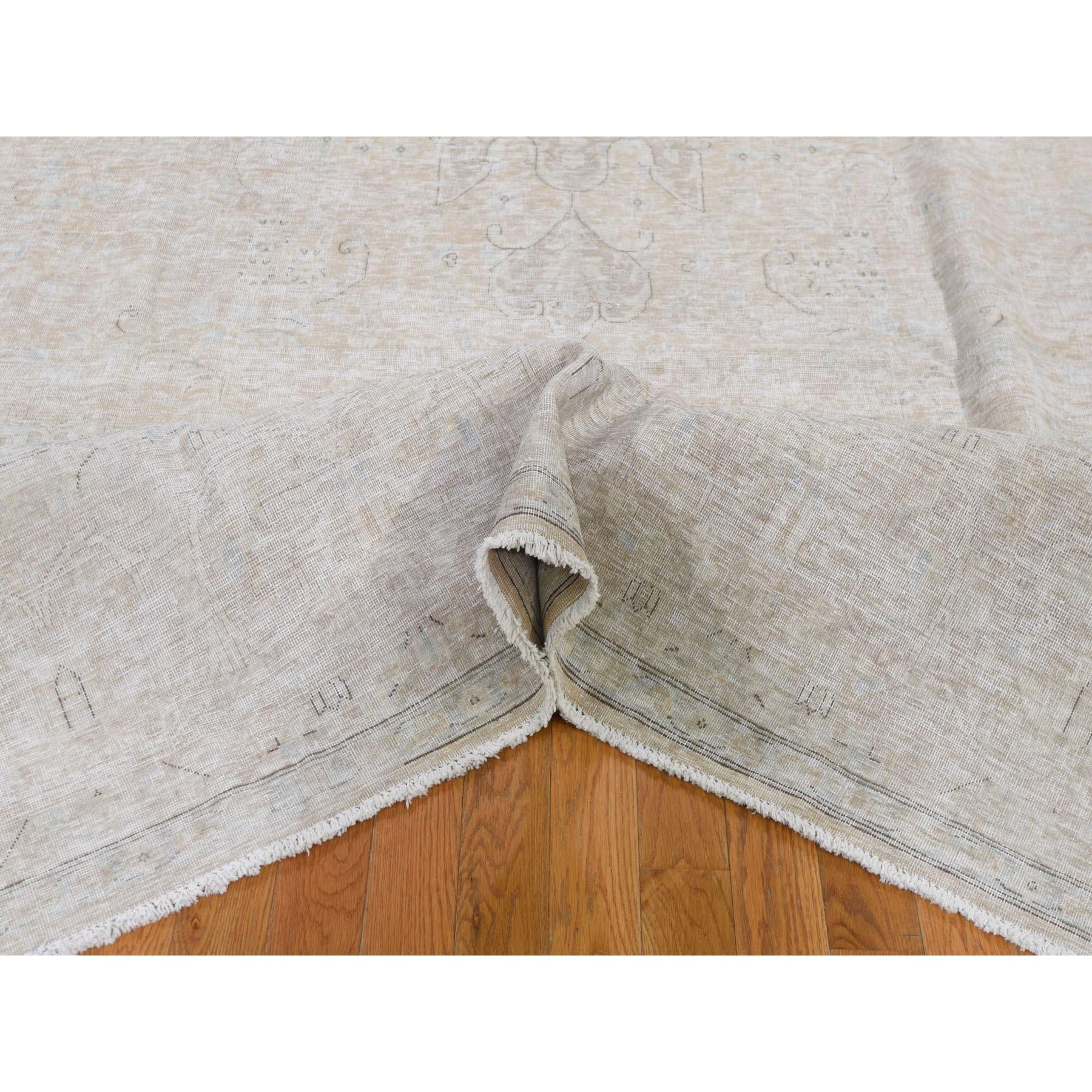 "9'5""x12'10"" White Wash Kerman Worn Wool Hand Knotted Oriental Rug"