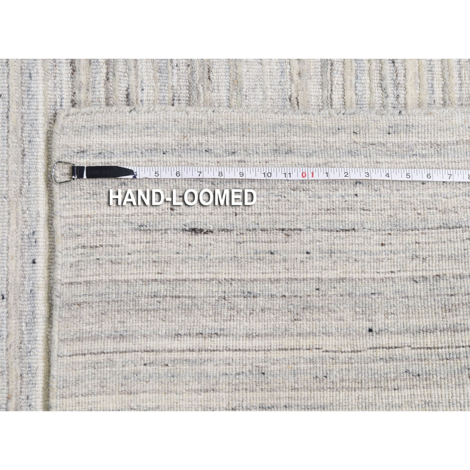 10-4 x14- Ivory Hand Loomed Pure Wool Plain Modern Oriental Rug