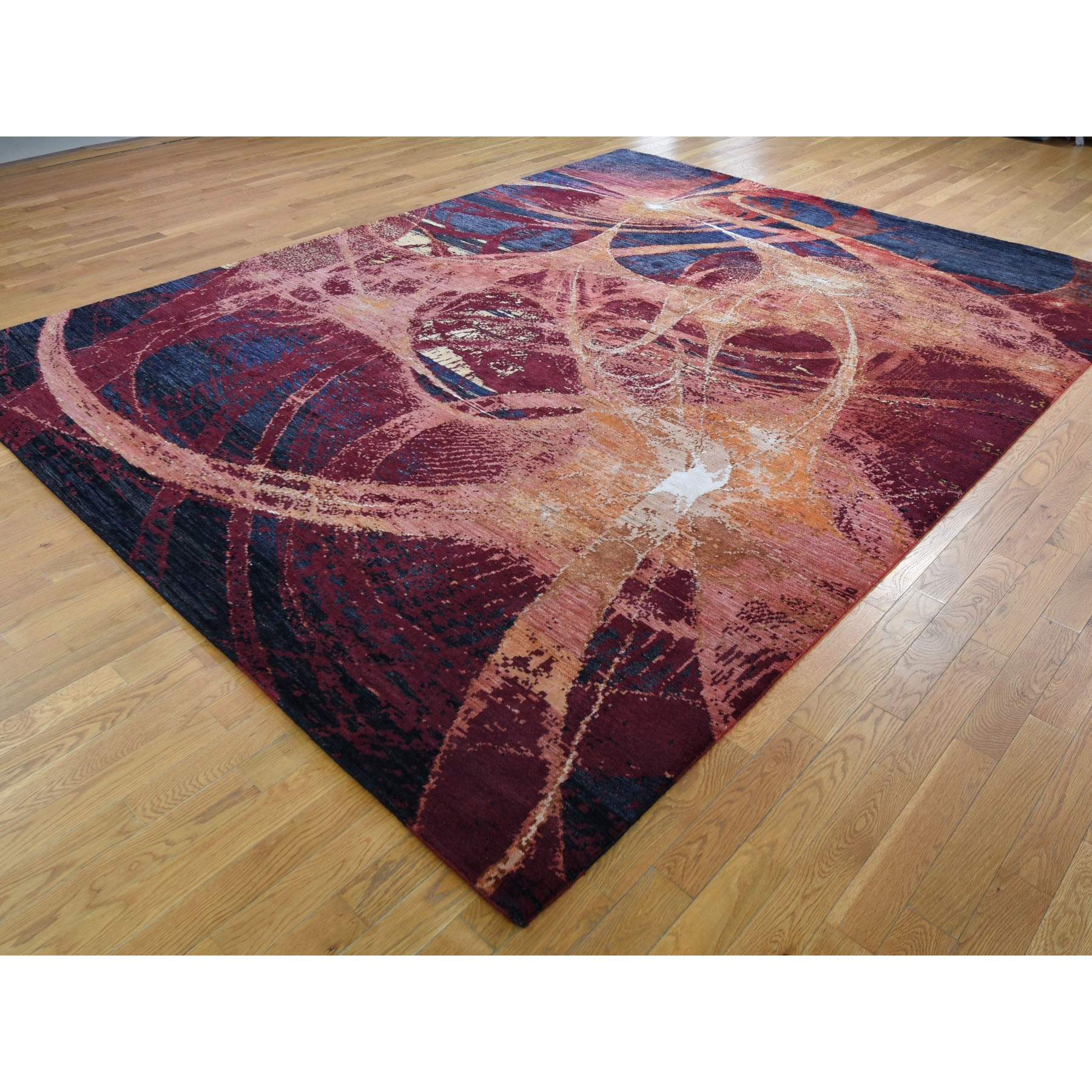 "9'2""x12' The Flamboyant Galaxy Wool And Silk Hand Knotted Oriental Rug"