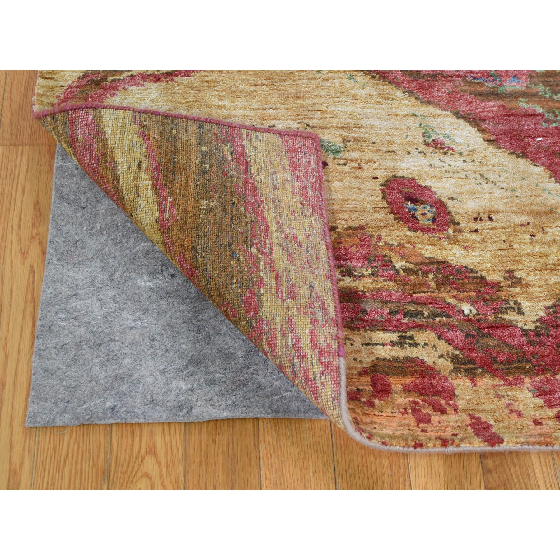 "8'x10'3"" Modern Geological Design Wool And Silk Hand Knotted Oriental Rug"