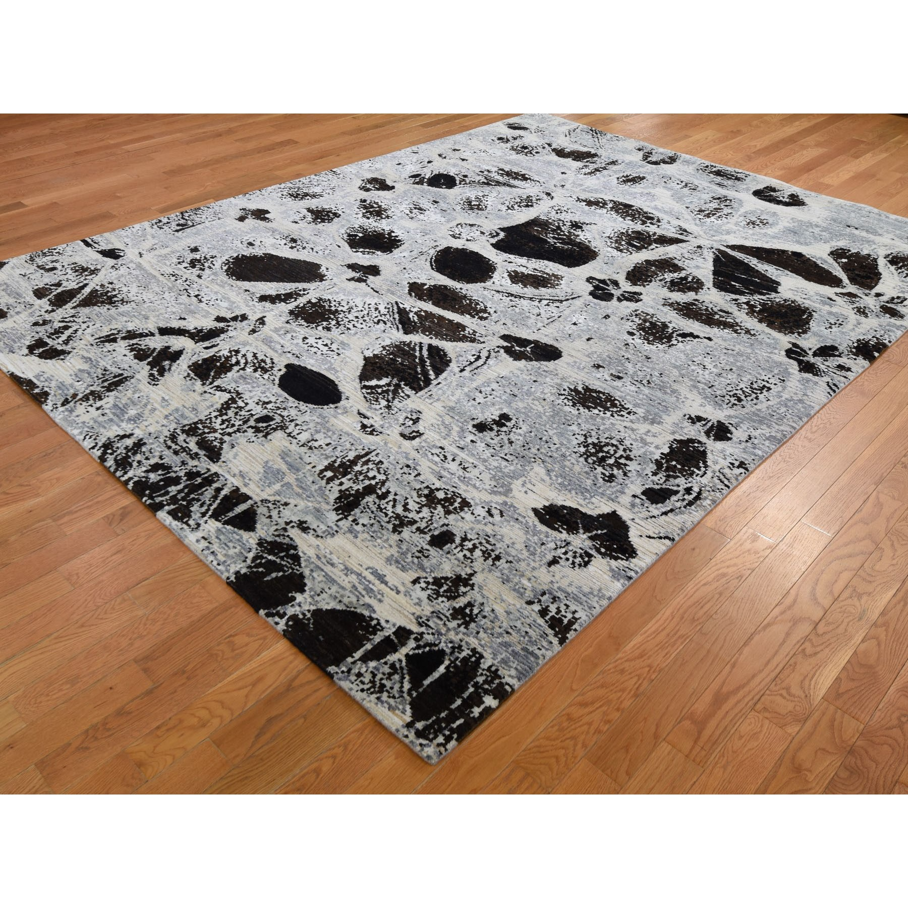 8-x10-3  Erased Flowers Modern Wool And Silk Hand Knotted Oriental Rug