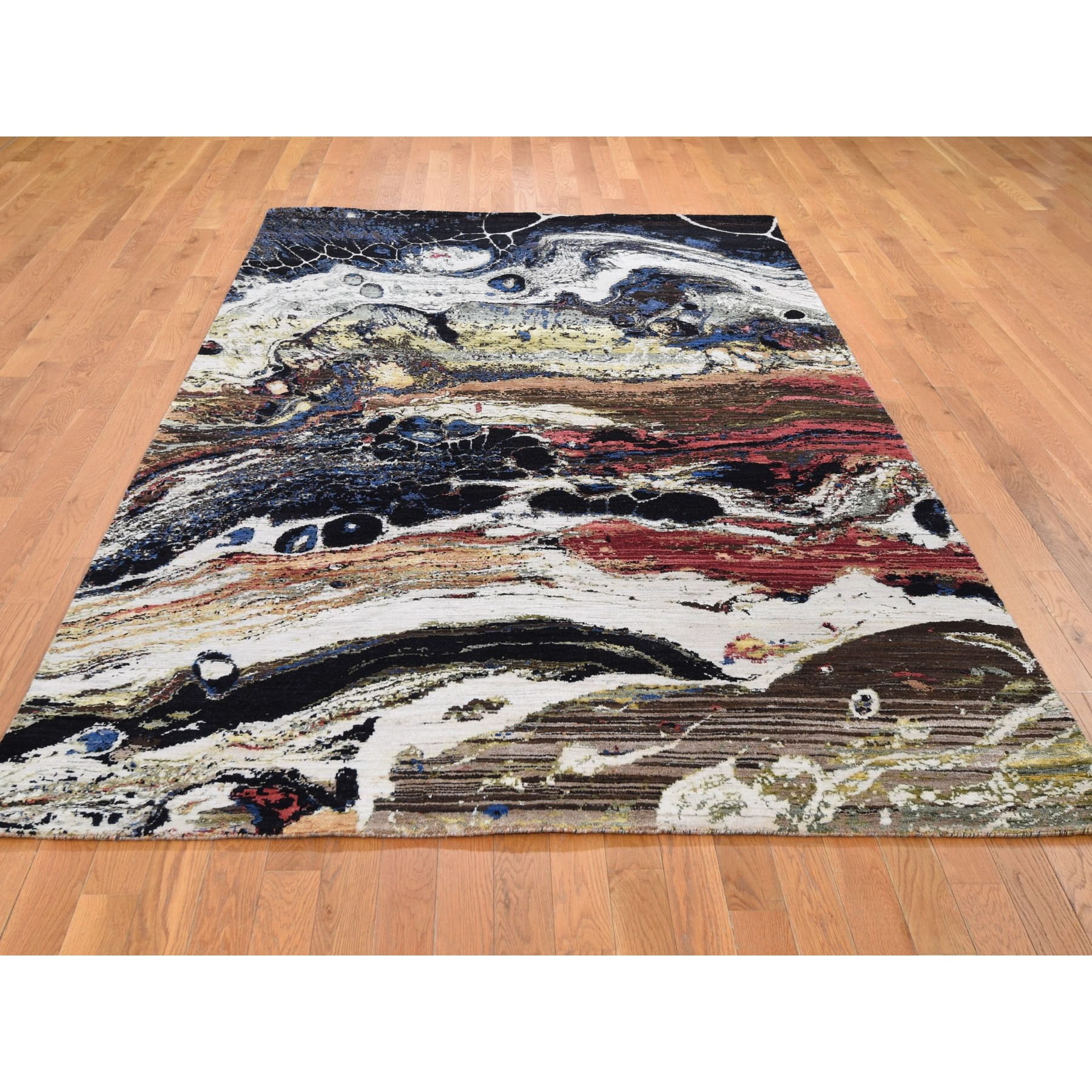 """5'10""""x9'2"""" Geological Modern Design Wool And Silk Hand Knotted Oriental Rug"""