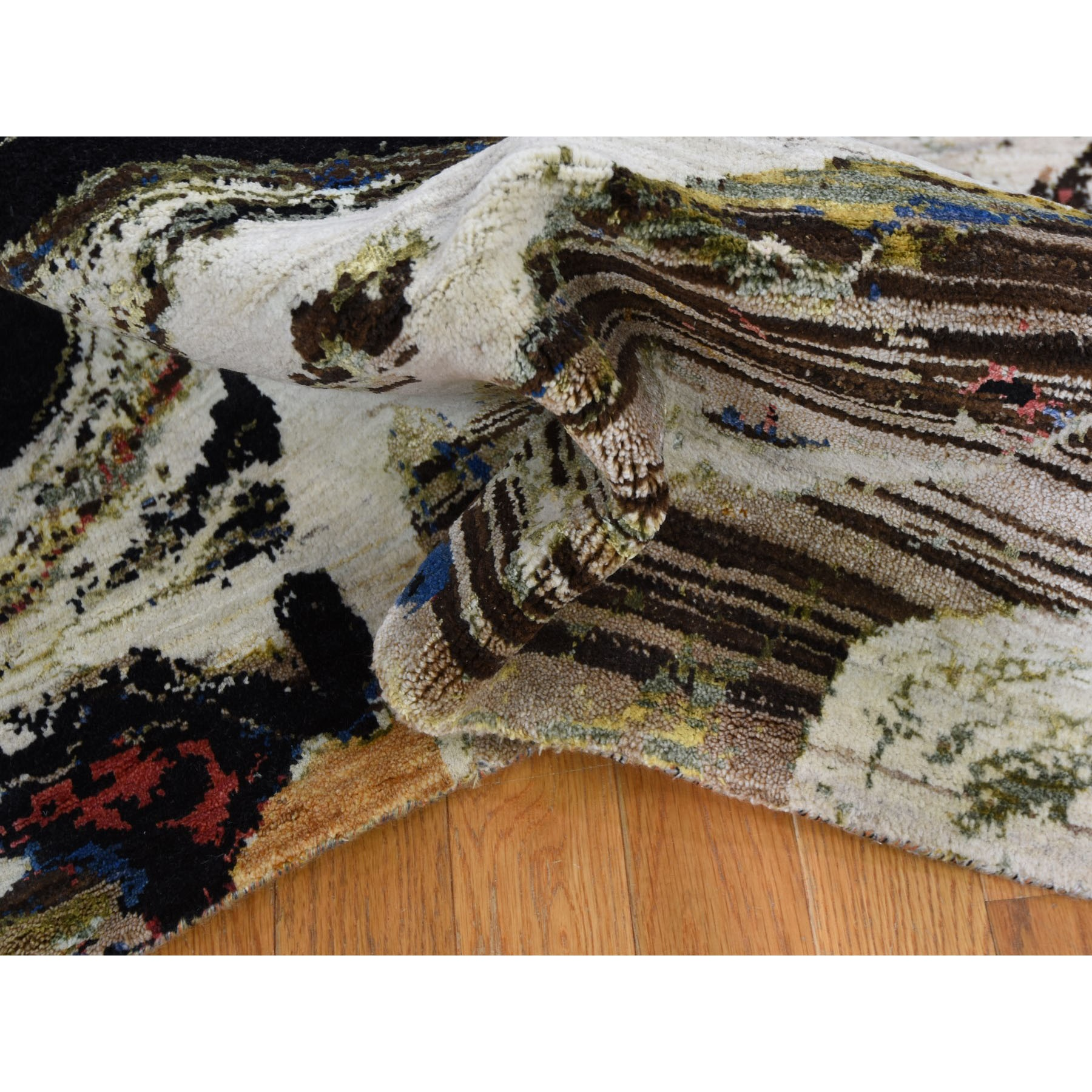 5-10 x9-2  Geological Modern Design Wool And Silk Hand Knotted Oriental Rug