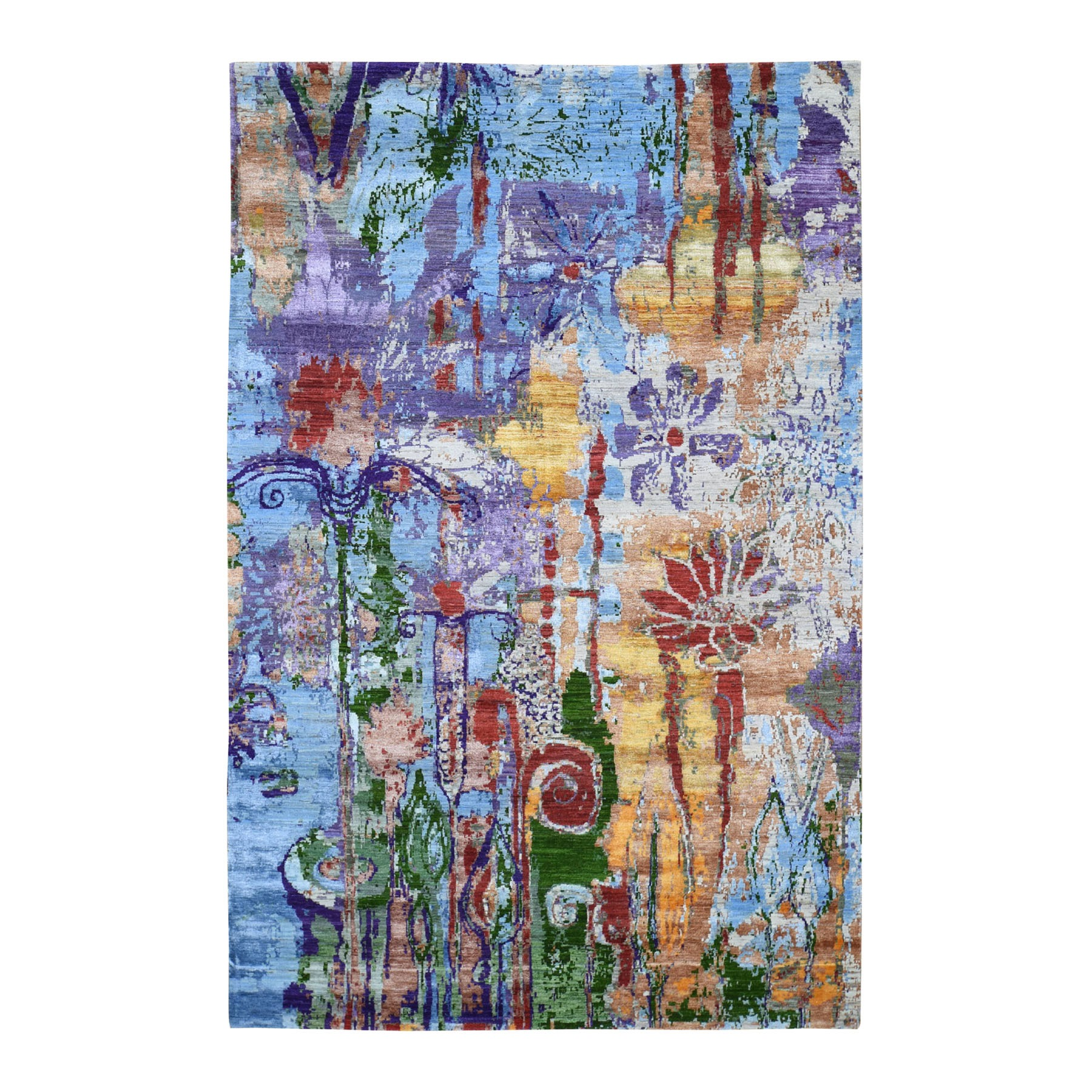 "6'x9'2"" THE DRENCHED FLOWERS Colorful Wool And Silk Hand Knotted Oriental Rug"