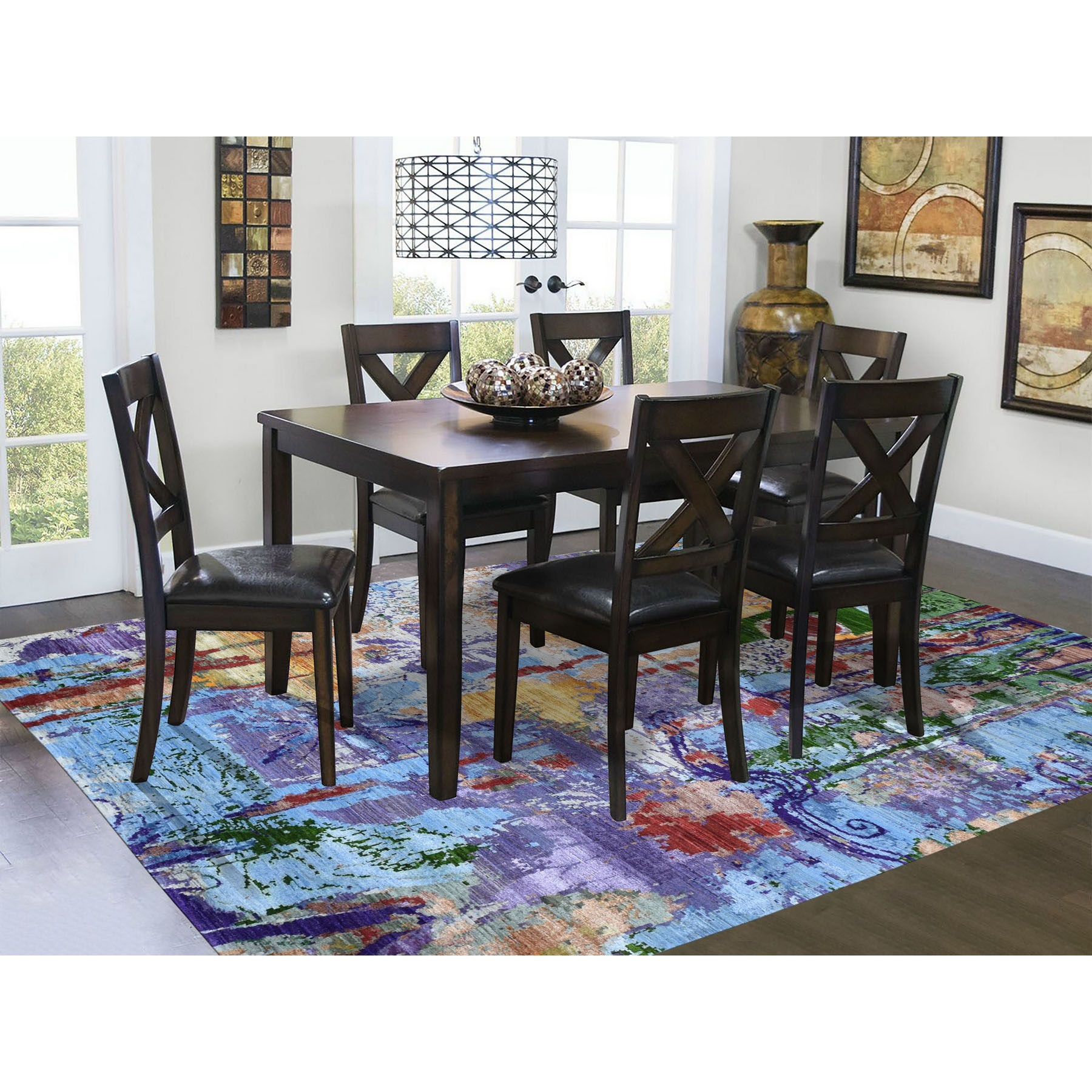 """6'x9'2"""" THE DRENCHED FLOWERS Colorful Wool And Silk Hand Knotted Oriental Rug"""