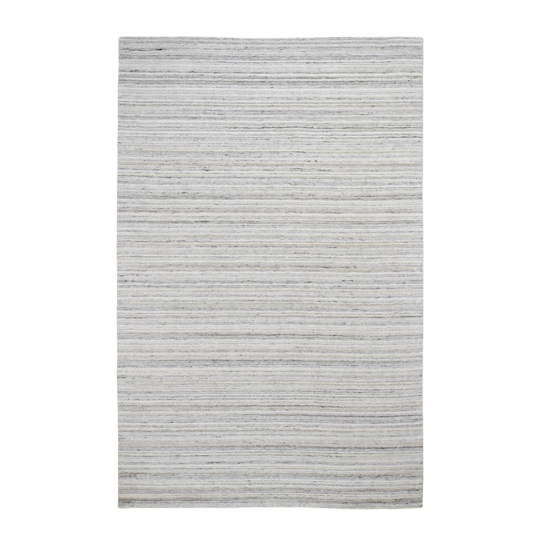 6'x9' Ivory Hand Loomed Pure Wool Plain Modern Oriental Rug 48271