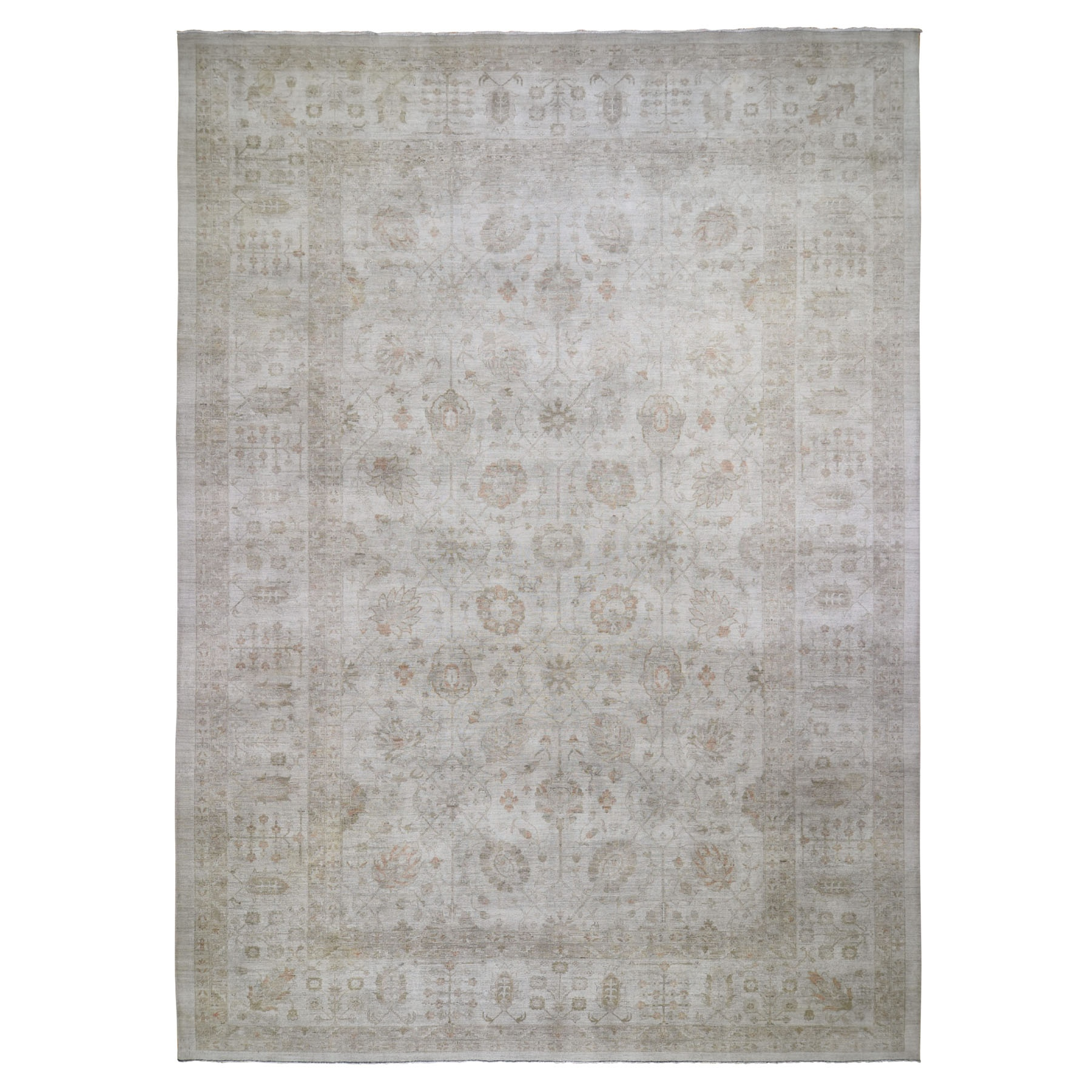 "12'1""X17'6"" Oversized White Wash Peshawar 2019 Clearance Hand Knotted Oriental Rug moad8b7b"