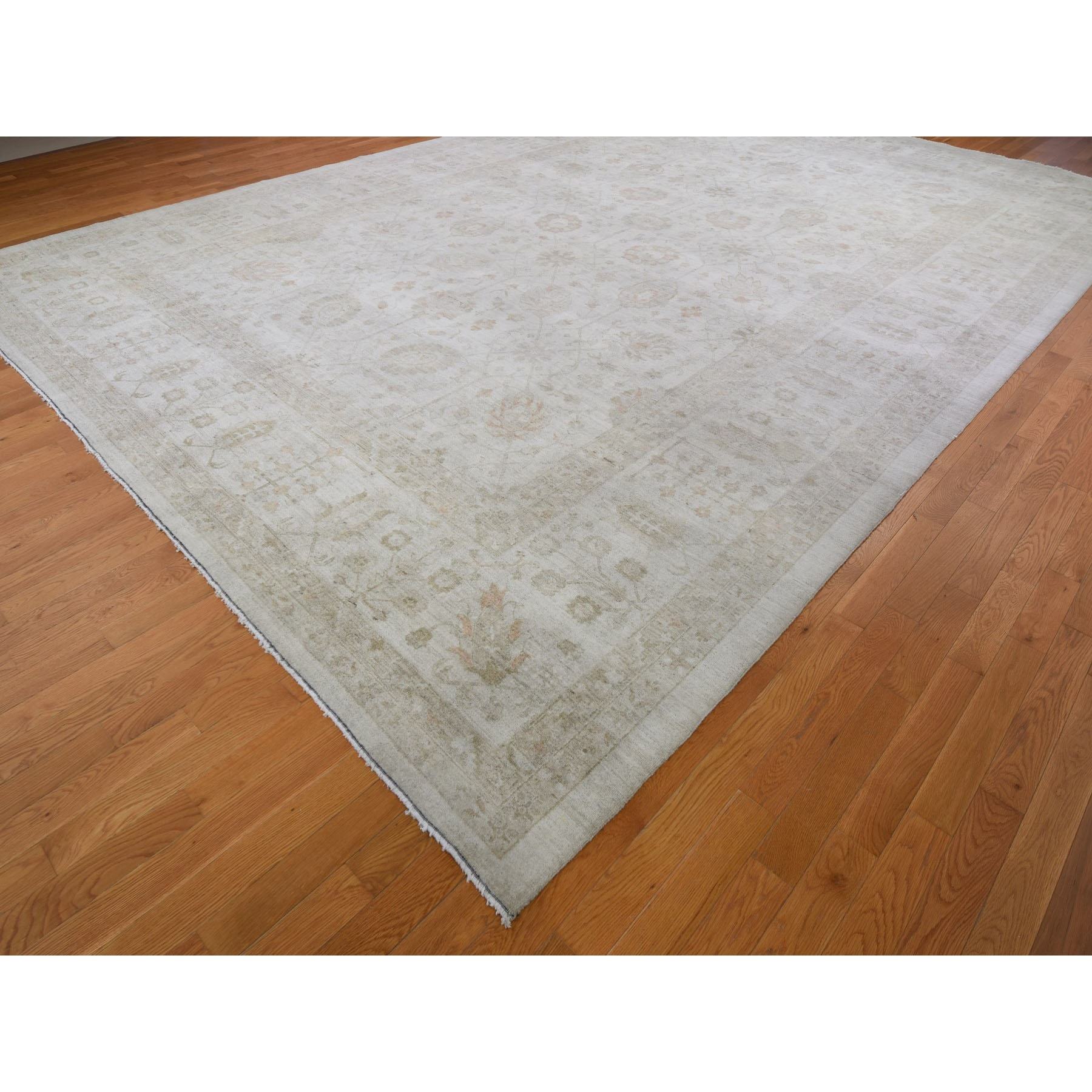 "12'1""x17'6"" Oversized White Wash Peshawar 2019 Clearance Hand Knotted Oriental Rug"