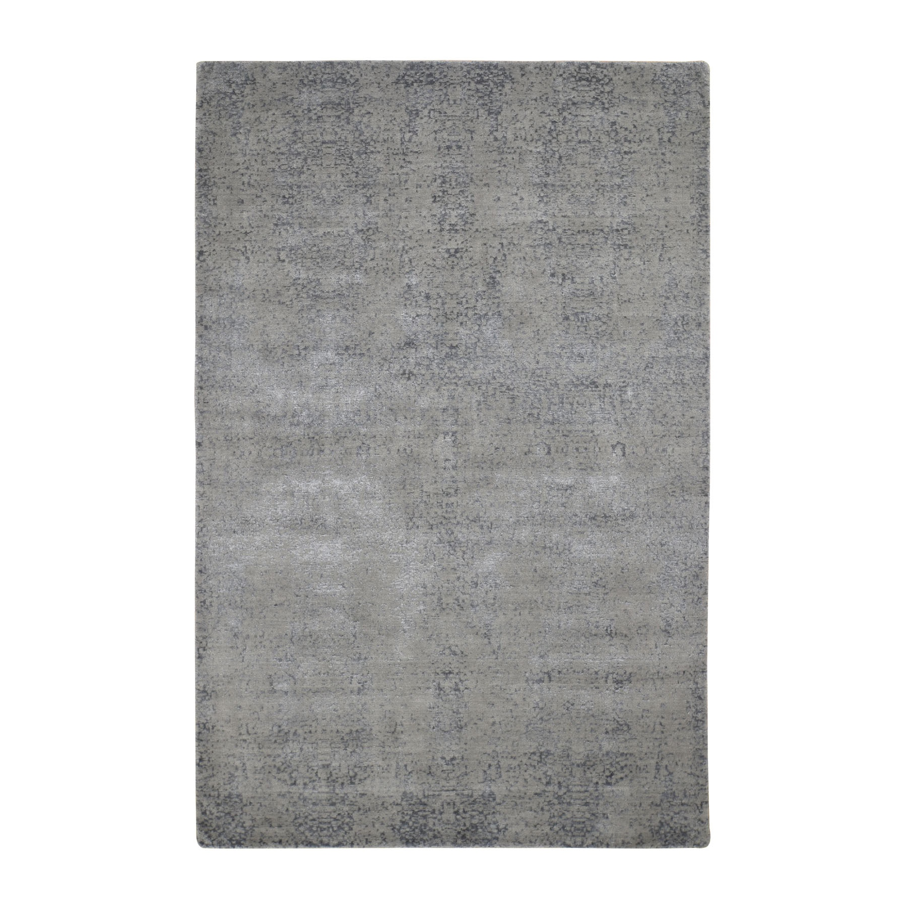 6'X9' Gray Abstract Design Wool And Silk Hand Loomed Oriental Rug moad8b7d