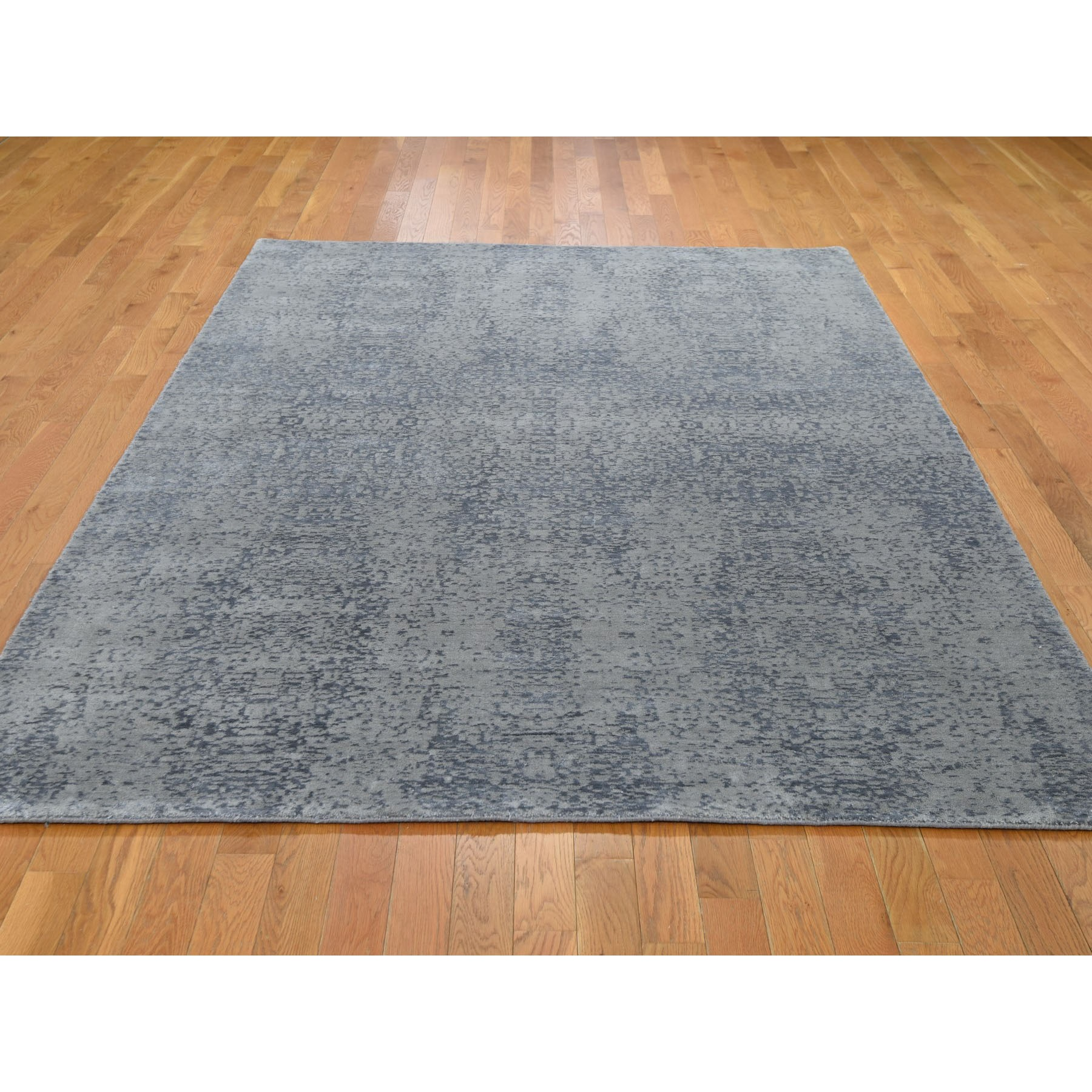 6'x9' Gray Abstract Design Wool And Silk Hand Loomed Oriental Rug