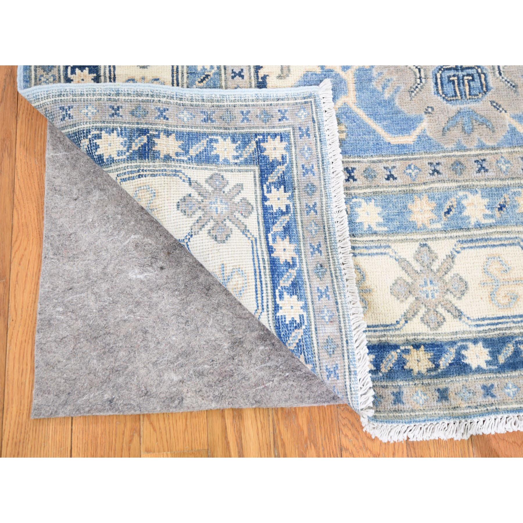 6'x9' Blue Vintage Look Kazak Geometric Design Pure Wool Hand Knotted Oriental Rug