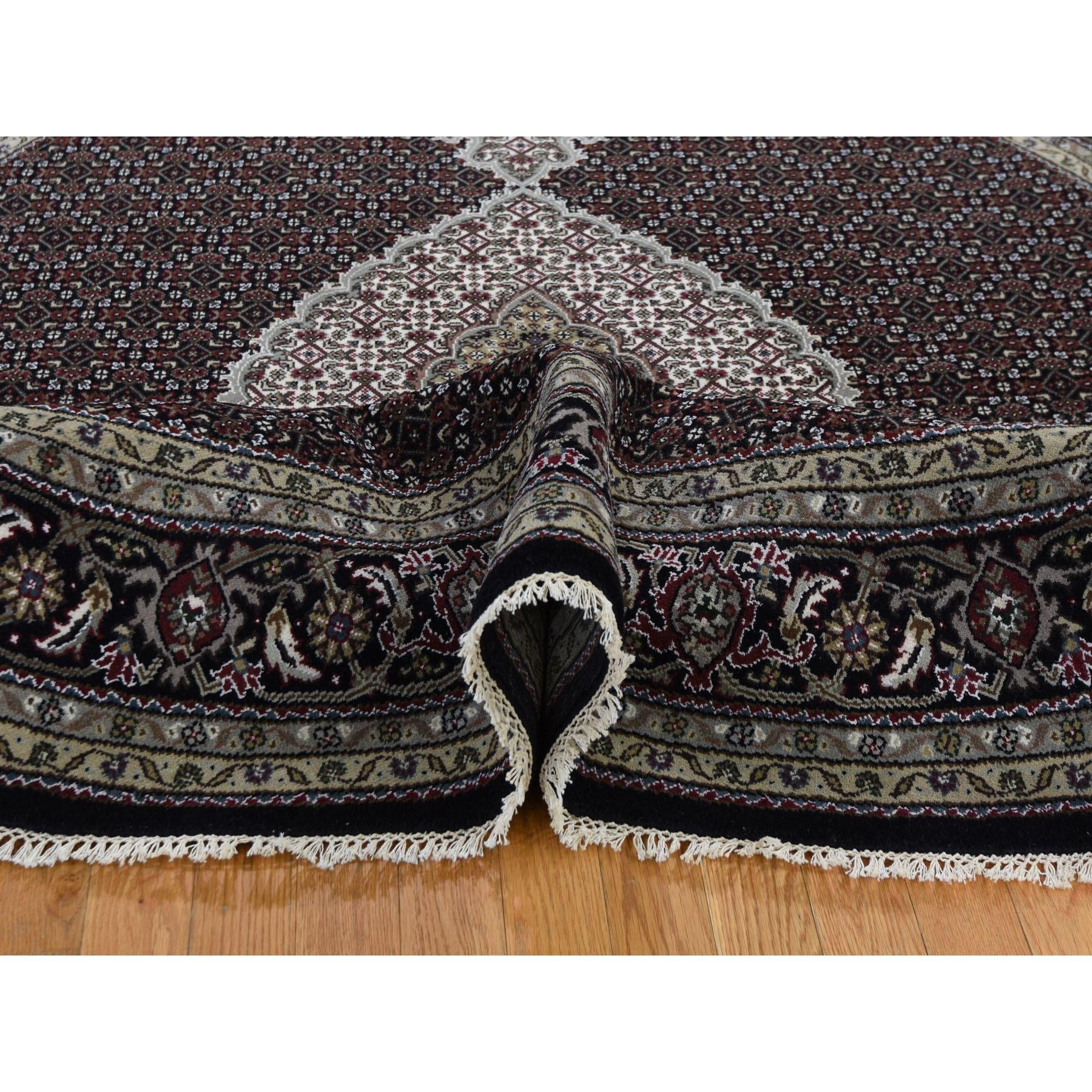 "7'9""x7'9"" Black Wool And Silk Tabriz Mahi Design Round Hand Knotted Oriental Rug"